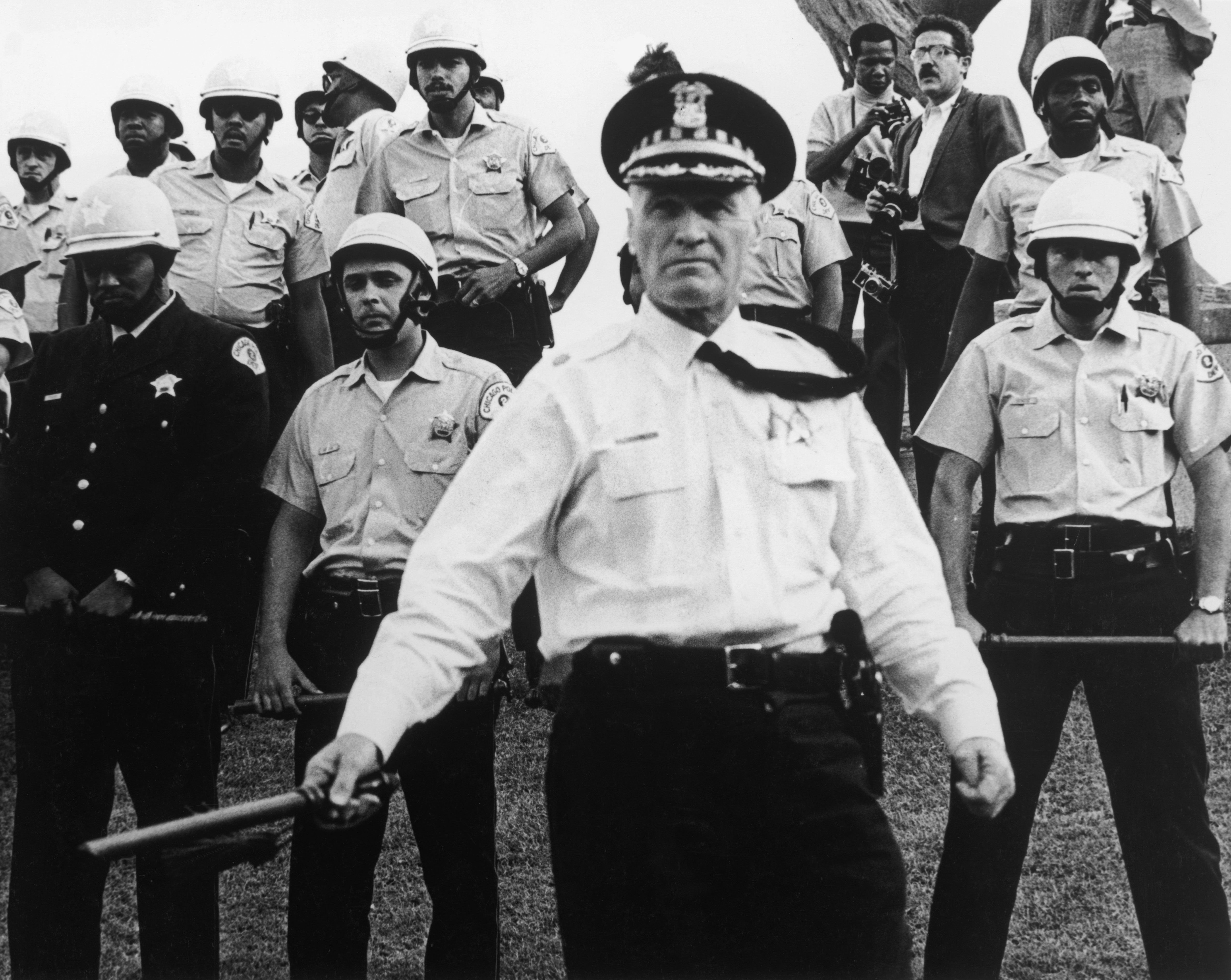 Police officers at the Democratic National Convention in Chicago, August, 1968.