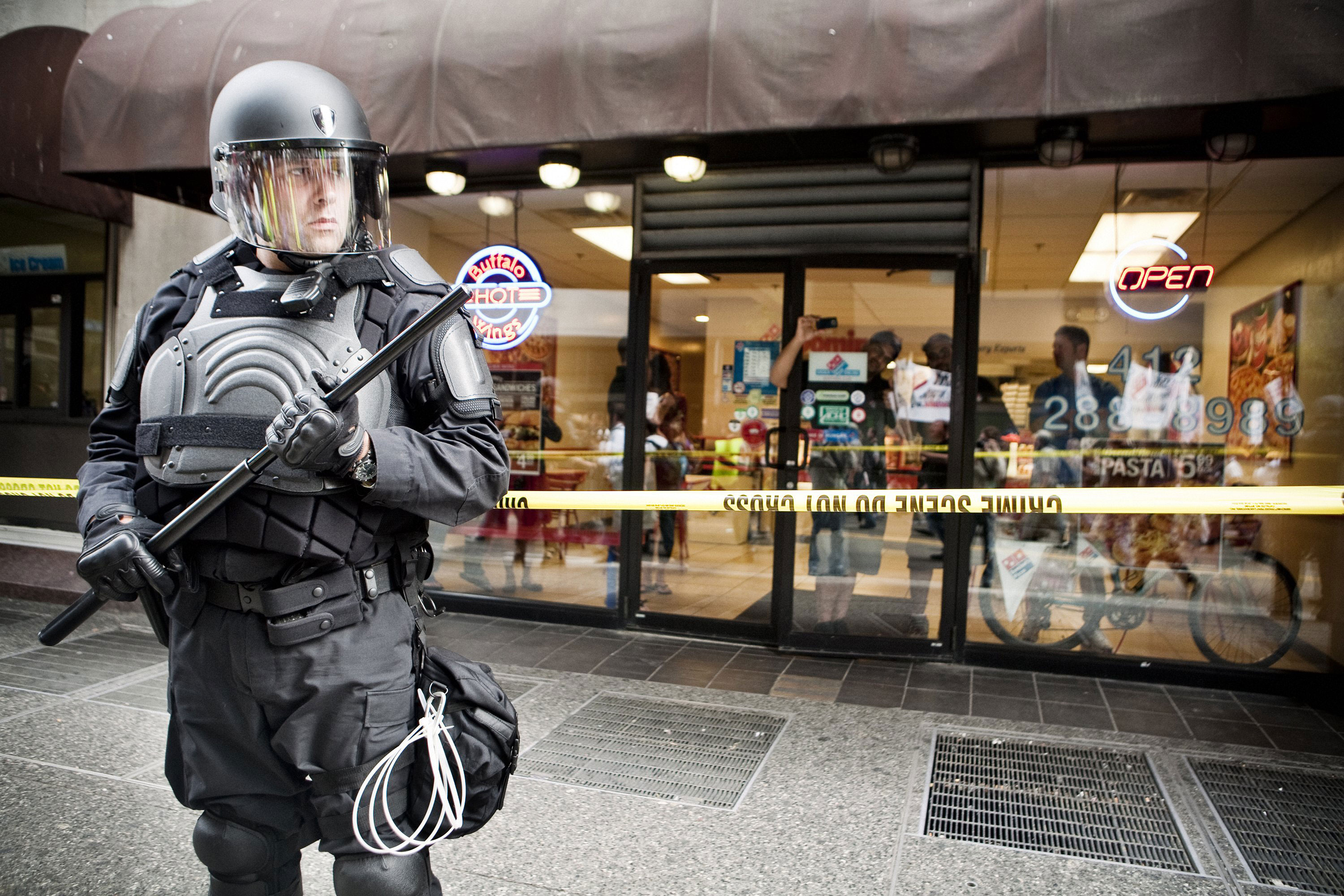 A police officer stands guard during the G20 protests in Pittsburgh, September, 2009.