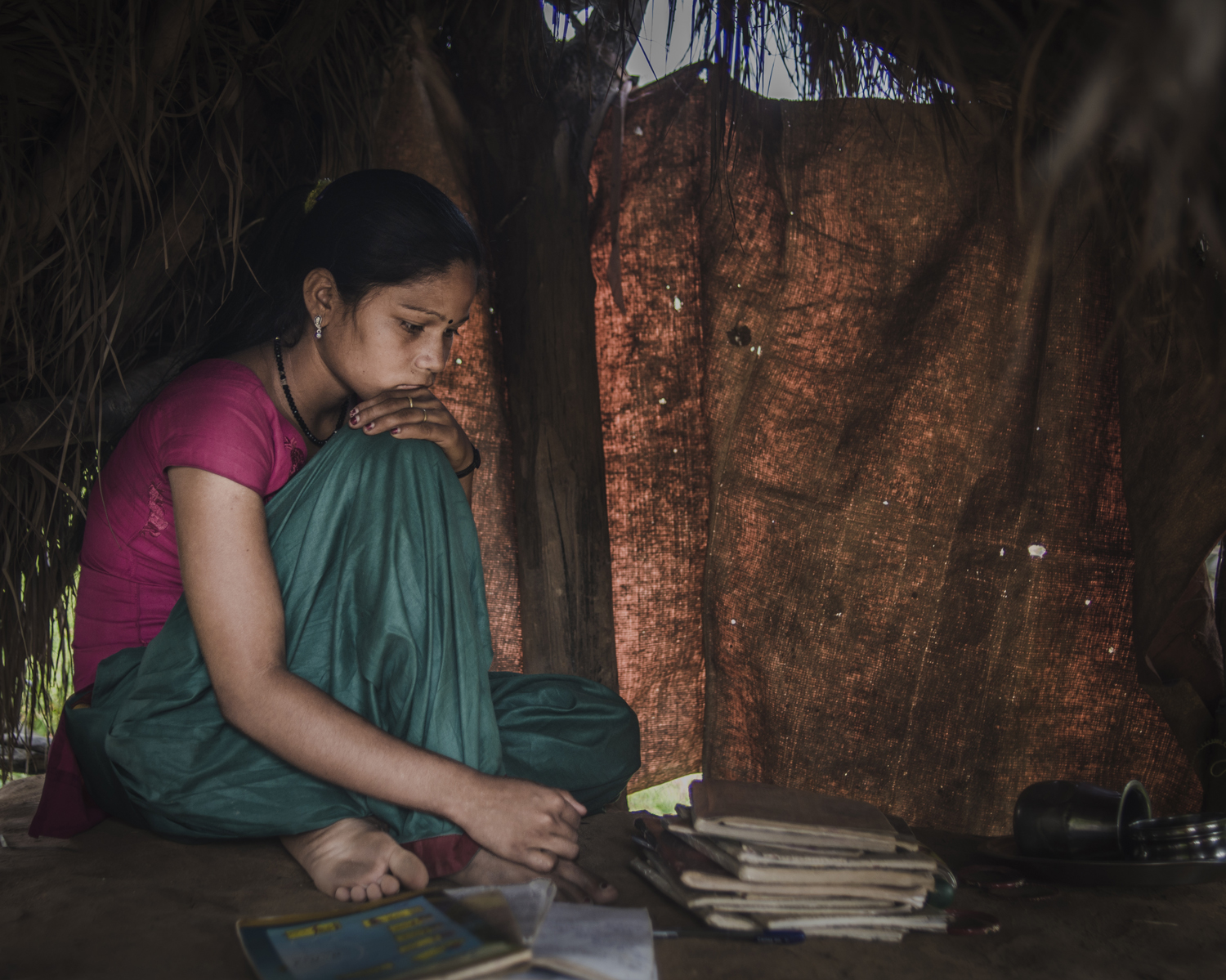 "I get scared of snakes. There is a village called Mumuri where a girl got bitten,  says Thyra Khuri Bishwa Karma, 16.  When people come and see us at the Chhaupadi, I feel ashamed. I feel so ashamed."" Narsi village."