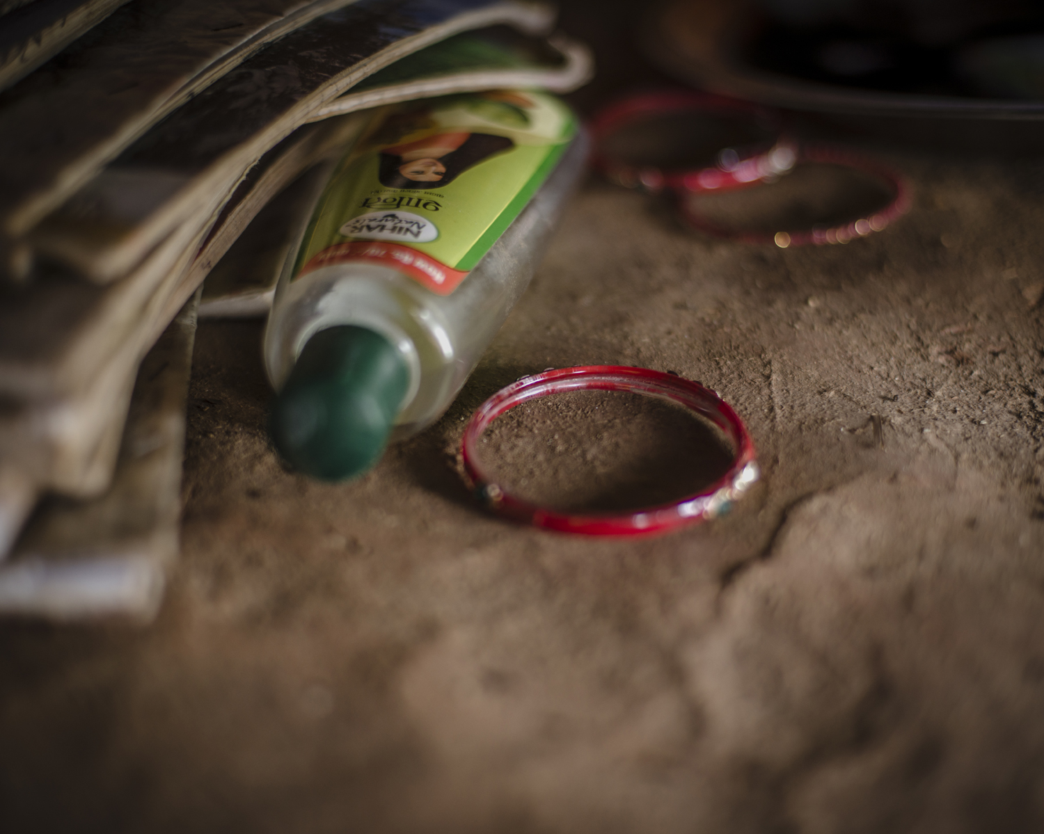 Belongings of a girl in the shed where she has to sleep. Narsi village.