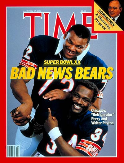 Jan. 27, 1986:  Refrigerator  Perry and Walter Payton, Chicago Bears
