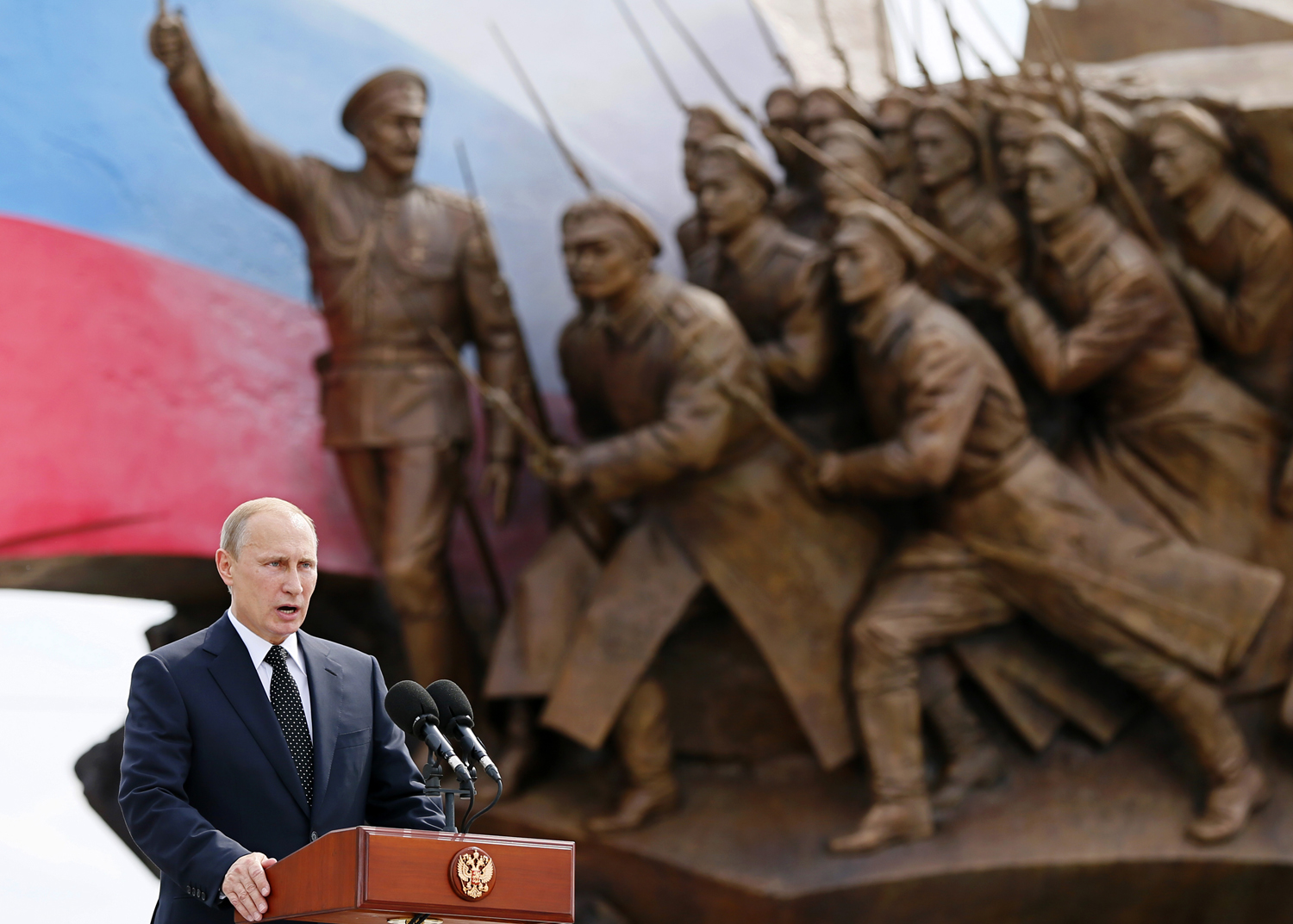 President Vladimir Putin speaks at the opening ceremony of the monument to the Heroes of the World War I in Moscow on Friday, Aug. 1, 2014.