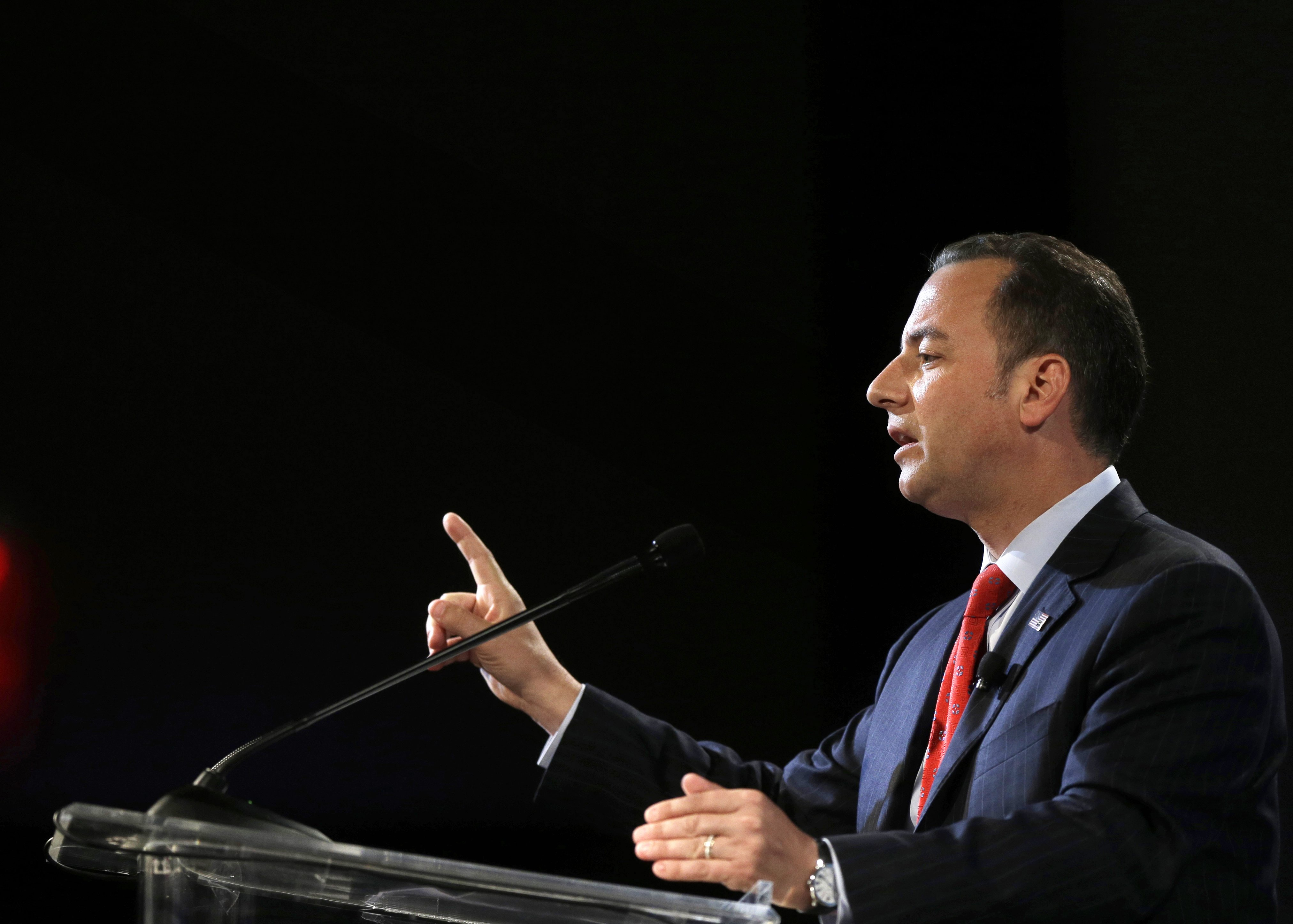 Chairman of the Republican National Committee Reince Priebus addresses an audience at the National Association of Black Journalists convention, Thursday, July 31, 2014, in Boston.