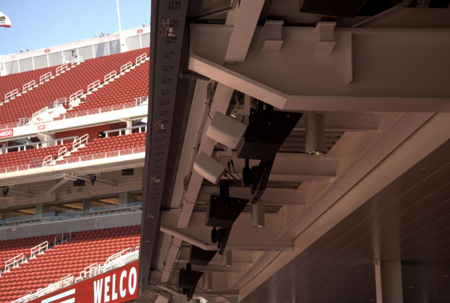 Repeaters placed throughout Levi's Stadium pass Internet service along from section to section