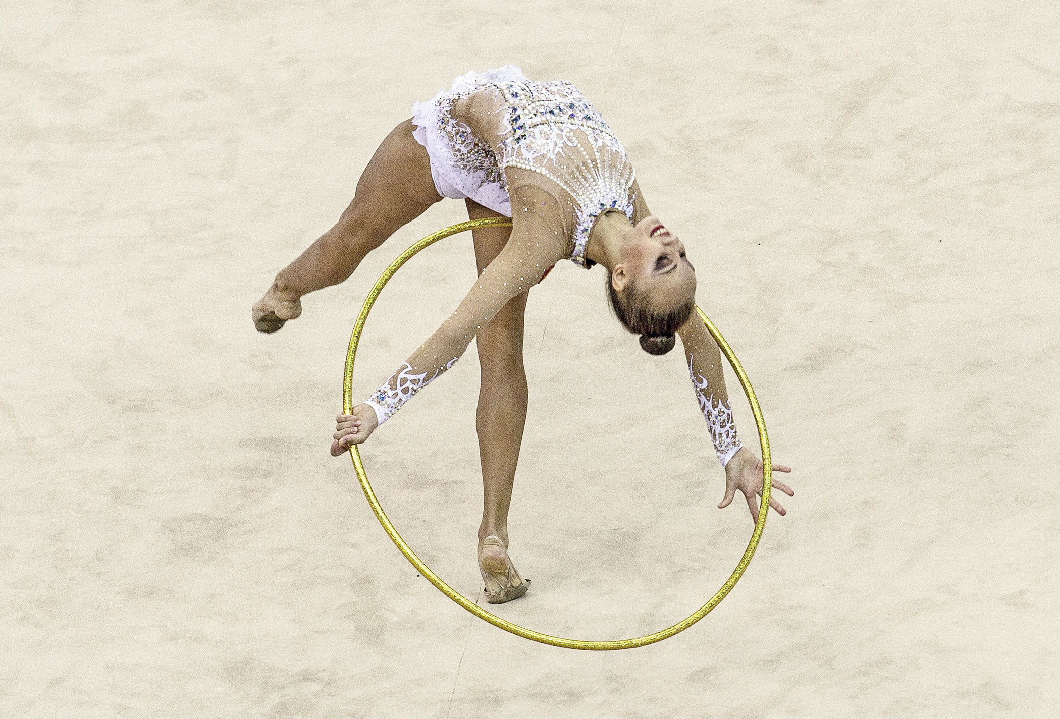 Irina Annenkova of Russia competes in Rhythmic Gymnastics Individual All-Around Qualification on day ten of the Nanjing 2014 Summer Youth Olympic Games at Nanjing OSC Gymnasium on Aug. 26, 2014 in Nanjing.