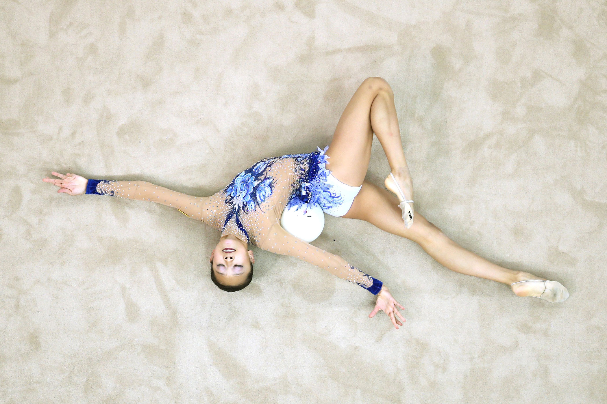 Laura Zeng of the United States competes in Rhythmic Gymnastics Individual All-Around Qualification on day ten of the Nanjing 2014 Summer Youth Olympic Games at Nanjing OSC Gymnasium on Aug. 26, 2014 in Nanjing.
