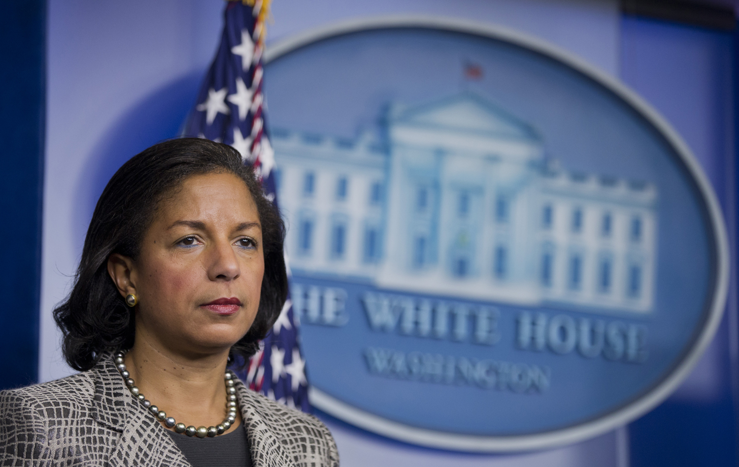 National Security Adviser Susan Rice listens to reporters questions during a briefing on March 21, 2014