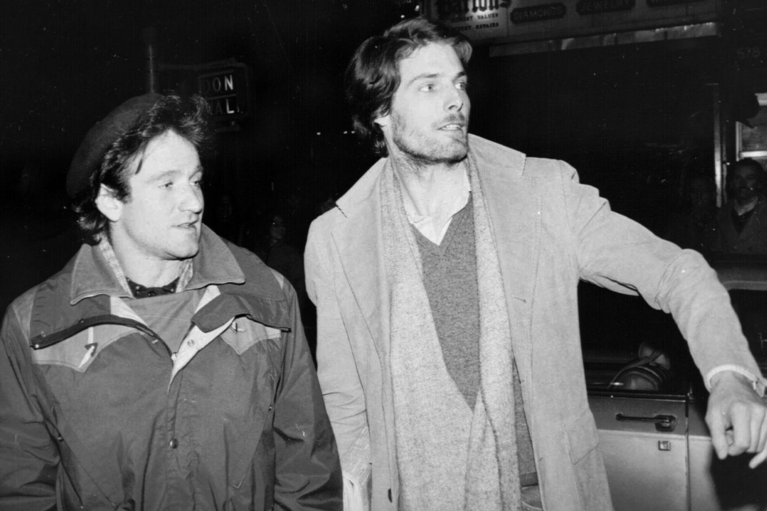 Robin Williams, left, and Christopher Reeve, attempt to hail a taxicab in New York City on Feb. 9, 1981. Williams went to see Reeve, who is appearing in the play  The Fifth of July , backstage after his performance Friday night.