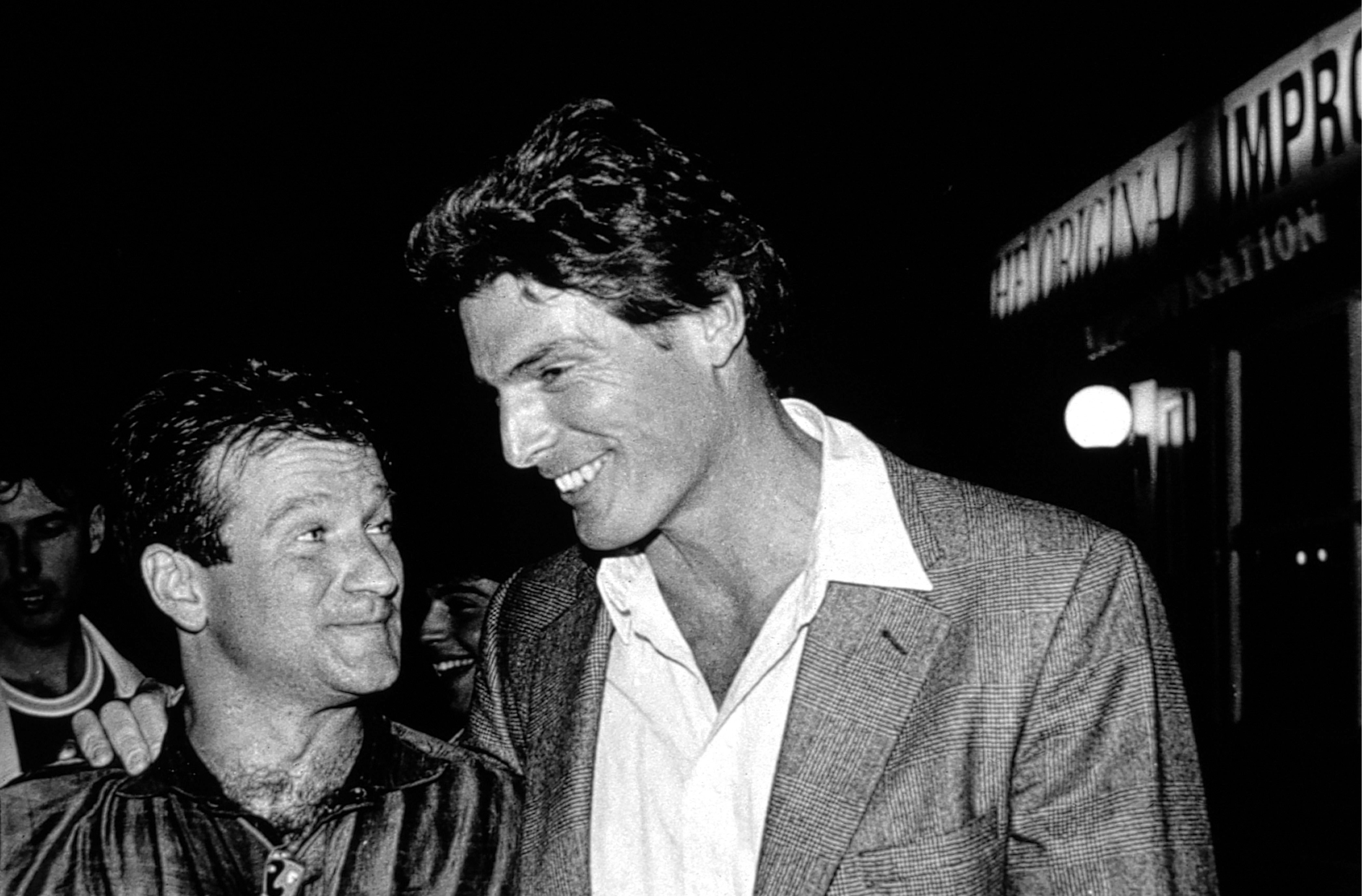 "Robin Williams and Christopher Reeve at Silver Friedman's ""The Original Improvisation"" in New York in 1988."