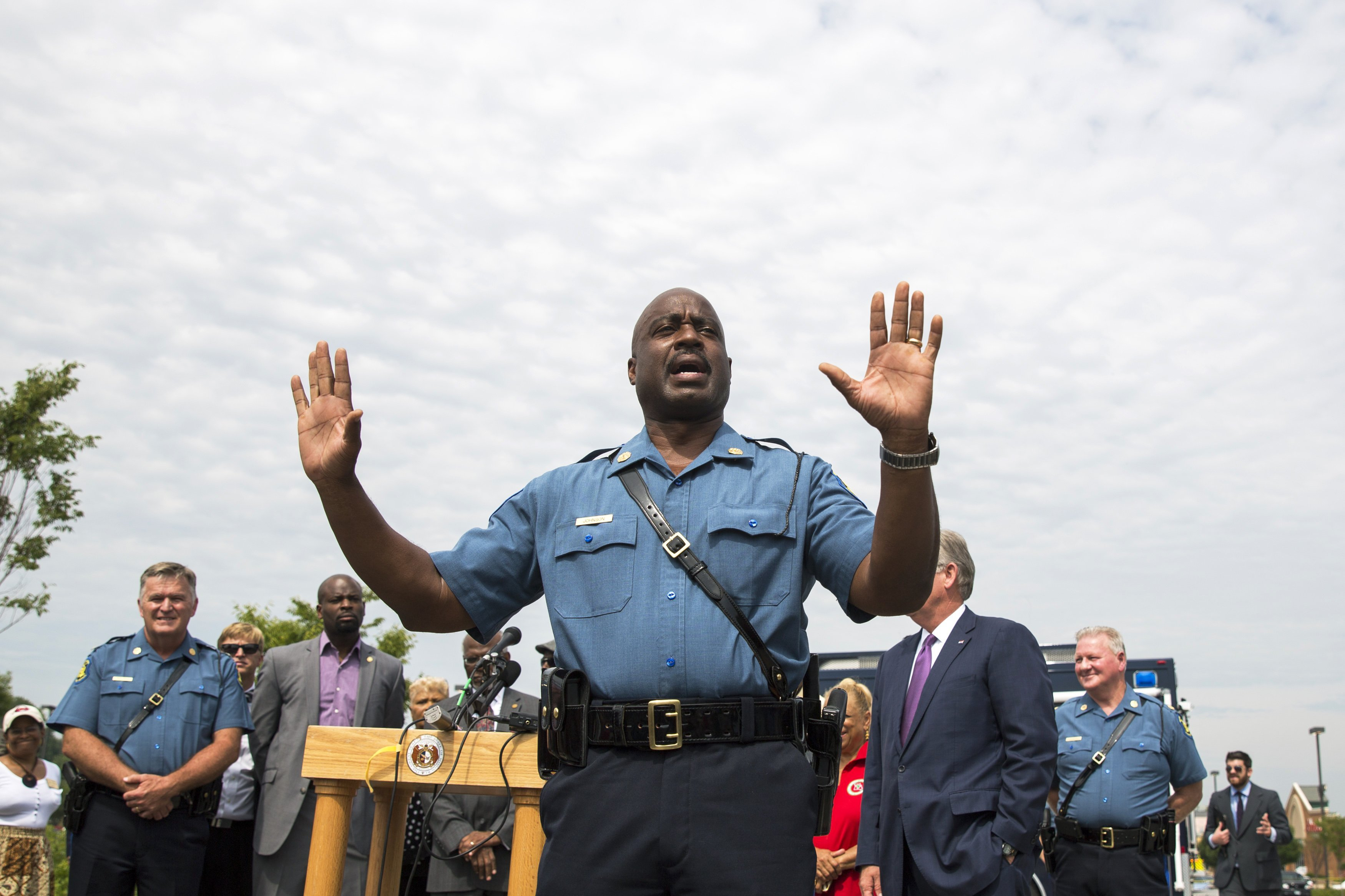 Captain Ron Johnson of the Missouri Highway Patrol addresses the media  in Ferguson on Aug. 15, 2014. Missouri Gov. Jay Nixon appointed NIxon to coordinate law enforcement's response after local departments were criticized for fanning the flames.