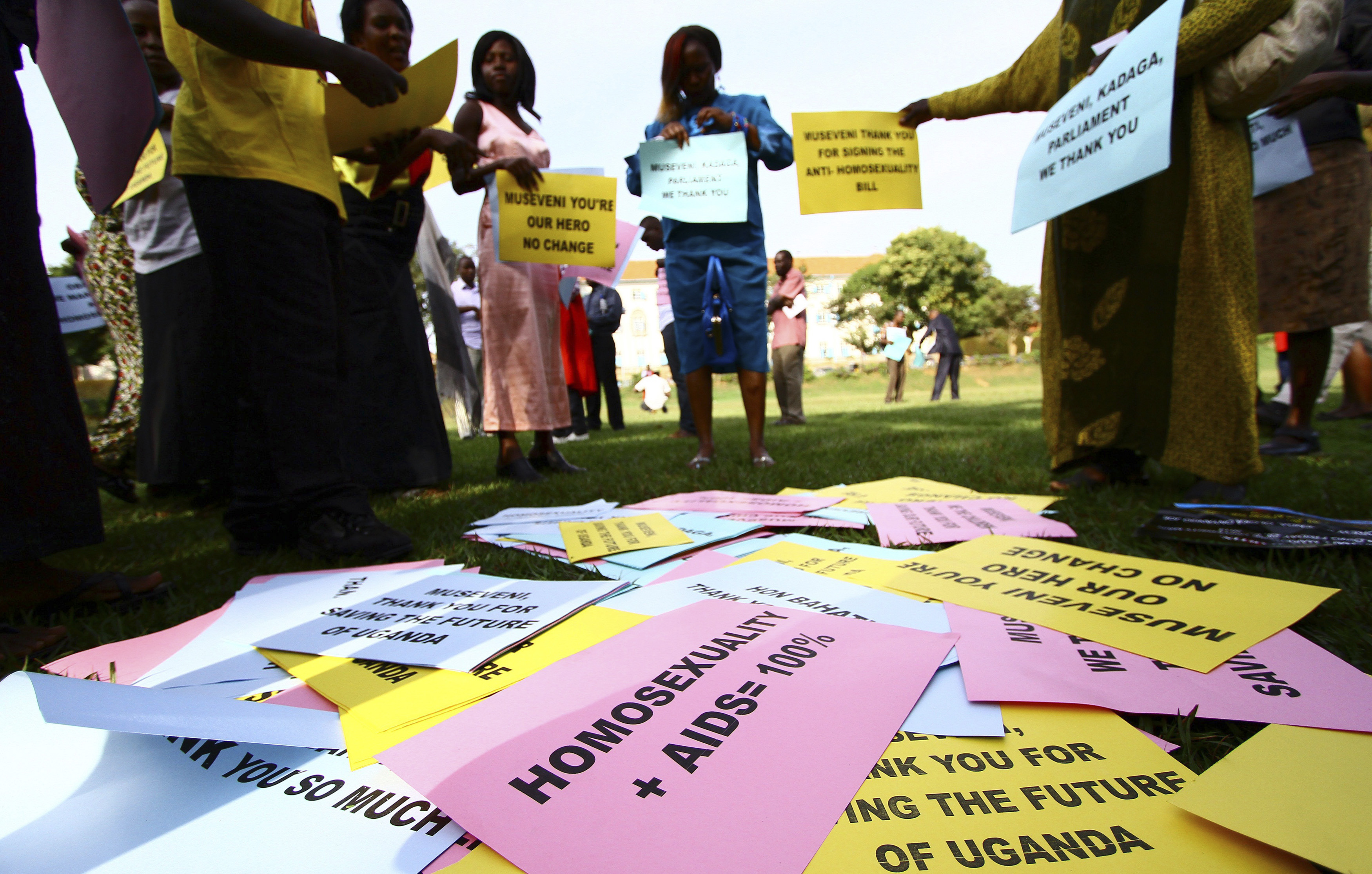 Supporters of the anti-gay law prepare for a procession backing the signing of the anti-gay bill into law, in Uganda's capital Kampala March 31, 2014.