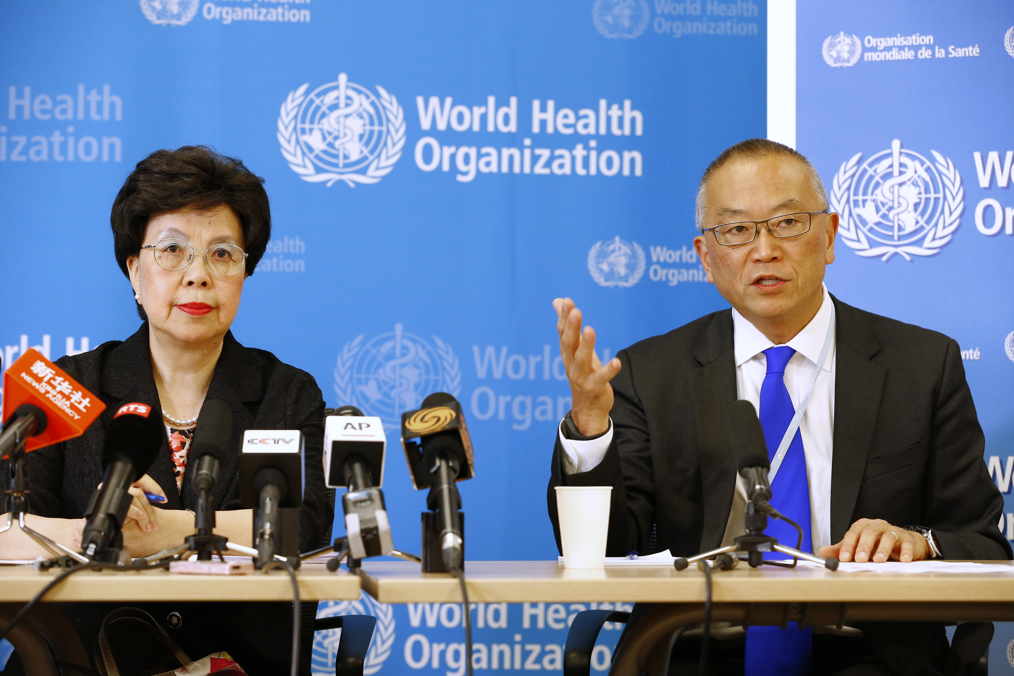 World Health Organization Director-General Margaret Chan sits next to Keiji Fukuda, WHO's assistant director general for health security, at a press conference following a two-day meeting of its emergency committee on Ebola, in Geneva on August 8, 2014.