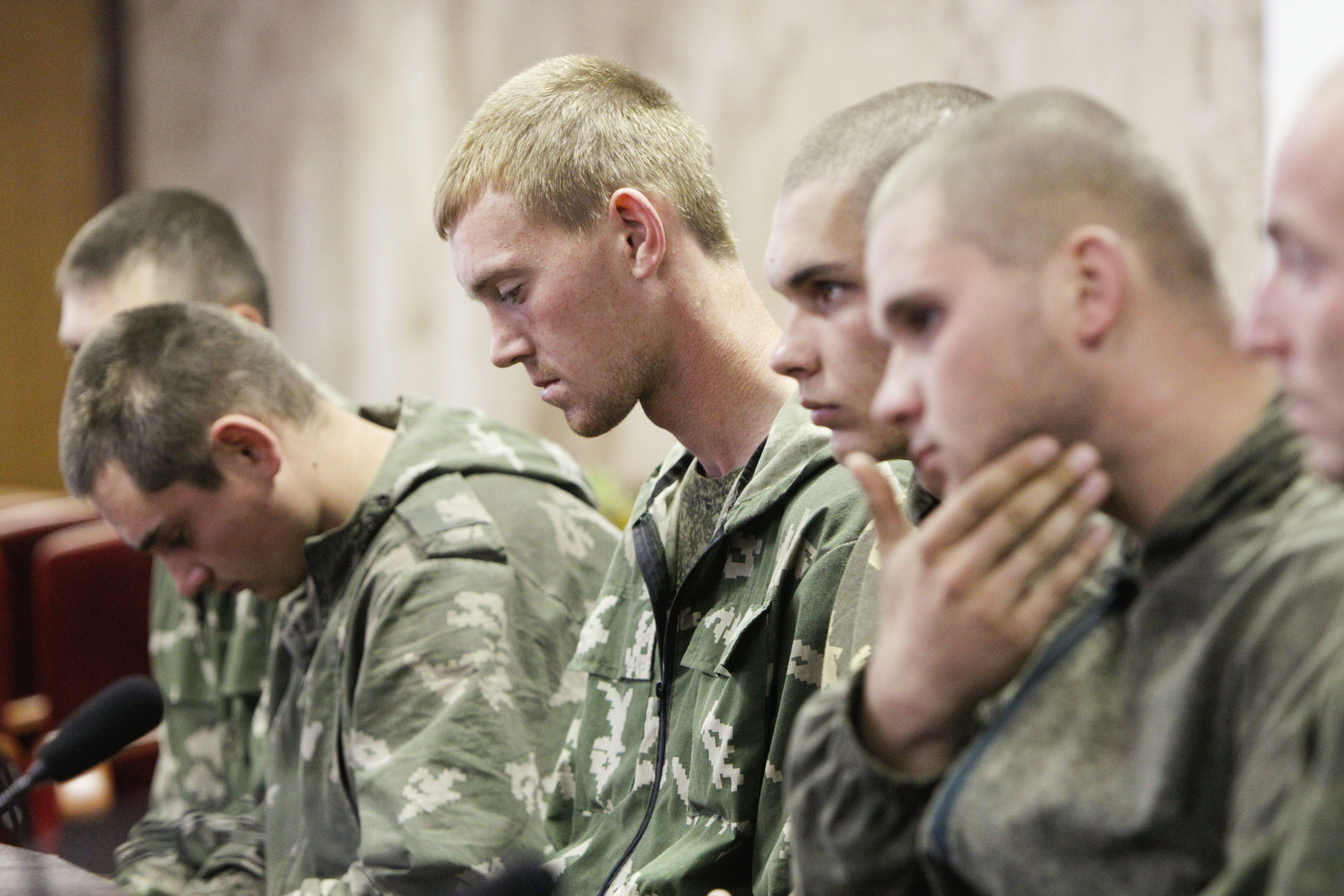 A group of Russian servicemen, taken prisoner by Ukrainian authorities, are presented at a news conference in Kiev on Aug. 27, 2014. Ukraine said on Tuesday its forces had captured a group of Russian paratroopers who had crossed into Ukrainian territory on a  special mission,  but Moscow said they had ended up there by mistake