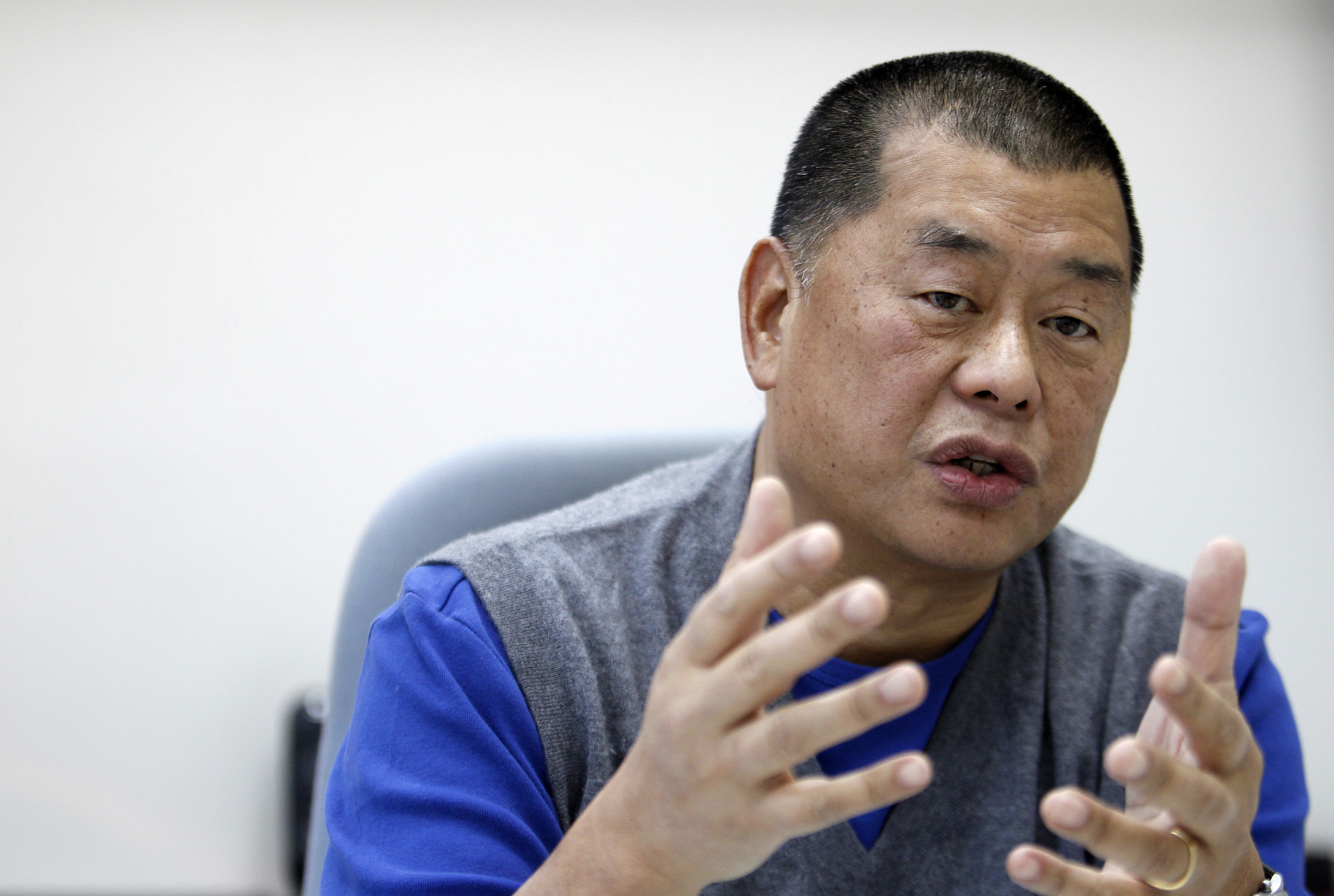 Jimmy Lai, chairman and founder of Next Media, speaks during an interview in Taipei on Nov. 29, 2010