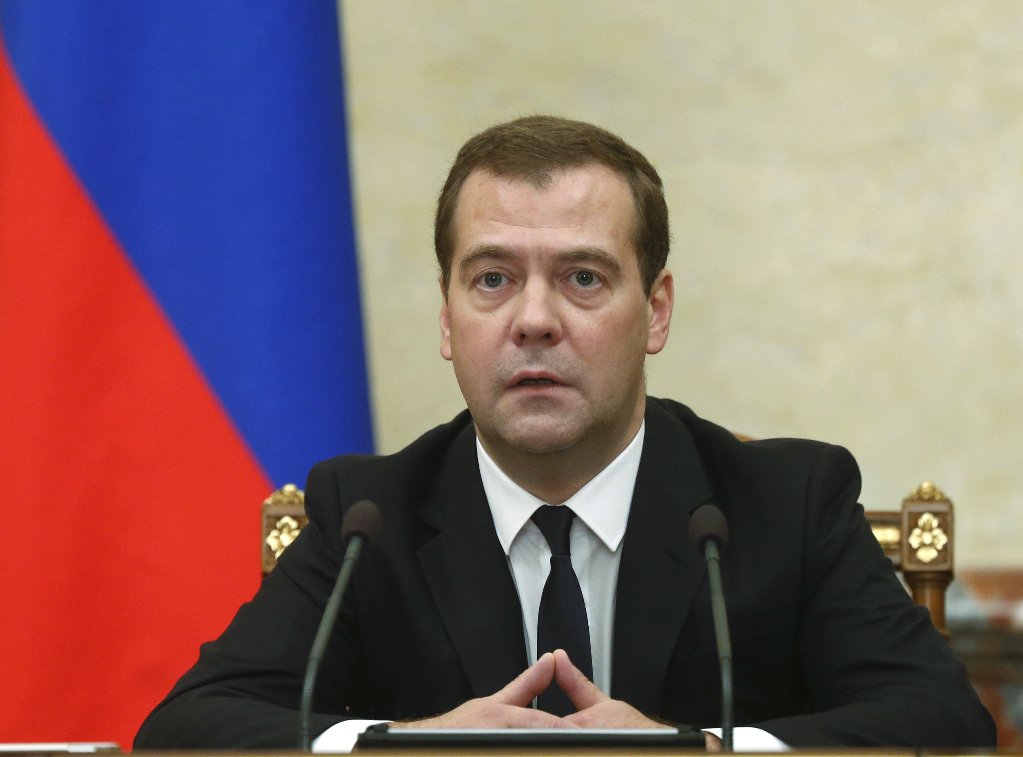 Russian Premier Dmitry Medvedev announces sanctions at the Cabinet meeting in Moscow on Thursday, Aug. 7.
