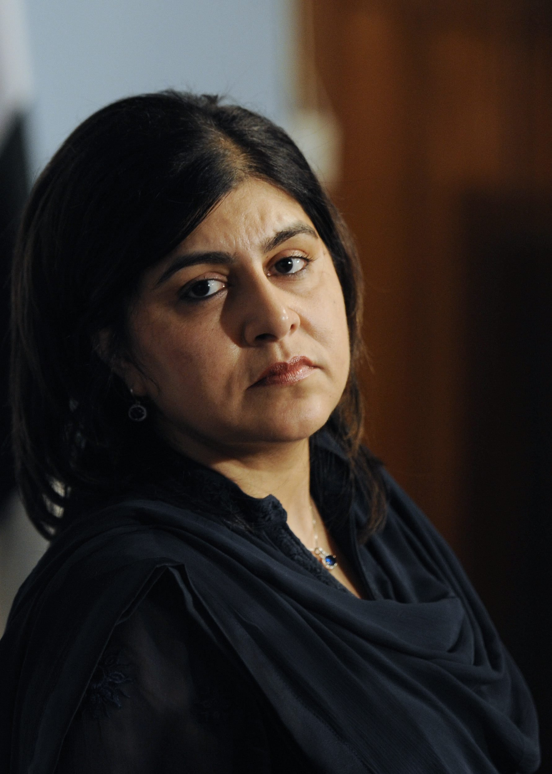 Sayeeda Hussain Warsi, British Senior Minister of State at the Foreign and Commonwealth Office and Minister for Faith and Communities in Islamabad, Pakistan on October 10, 2013.