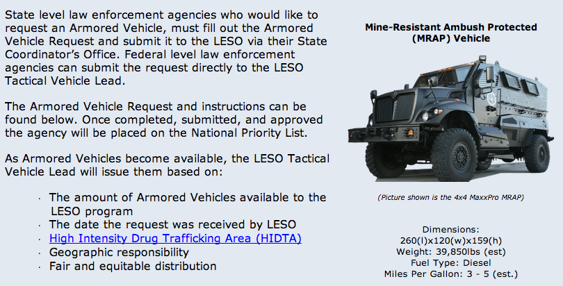 From a Pentagon website seeking to interest local law enforcement agencies in trading up to an MRAP.