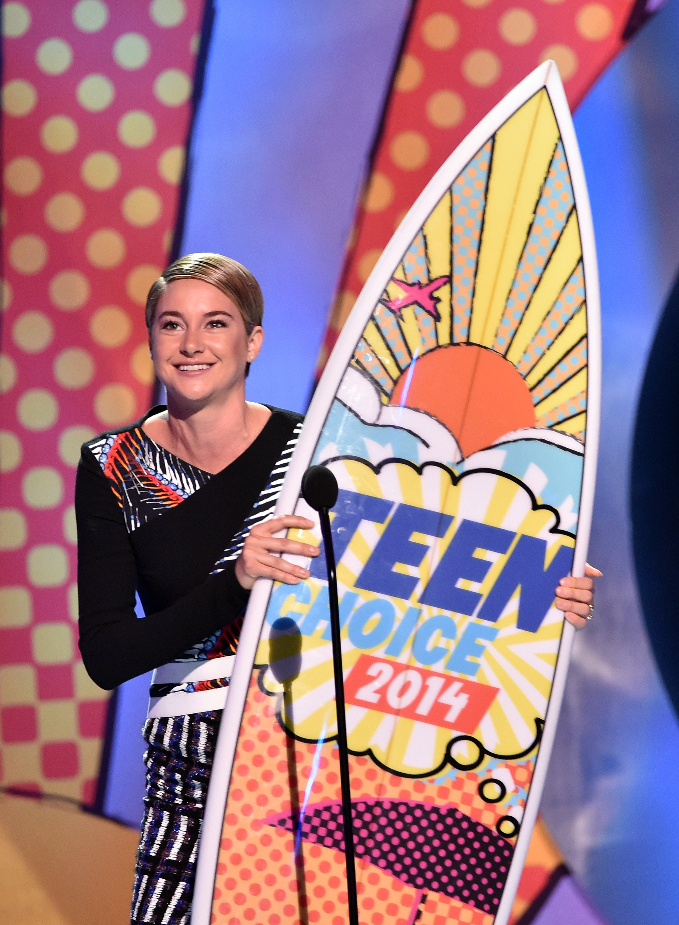 Actress Shailene Woodley, winner of Best Actress: Action onstage during FOX's 2014 Teen Choice Awards at The Shrine Auditorium on August 10, 2014 in Los Angeles.