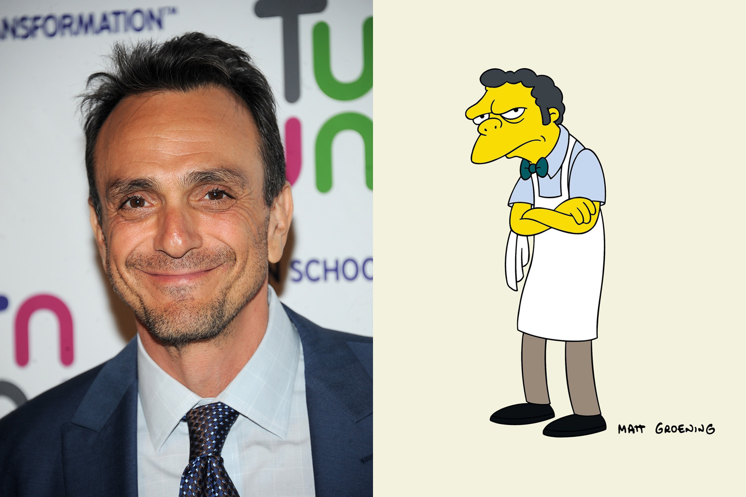 Hank Azaria plays the town barkeep, Moe Szyslak, as well as a wide cast of male characters ranging from Chief Wiggum and Apu to Duffman (can't breathe! oh no!).