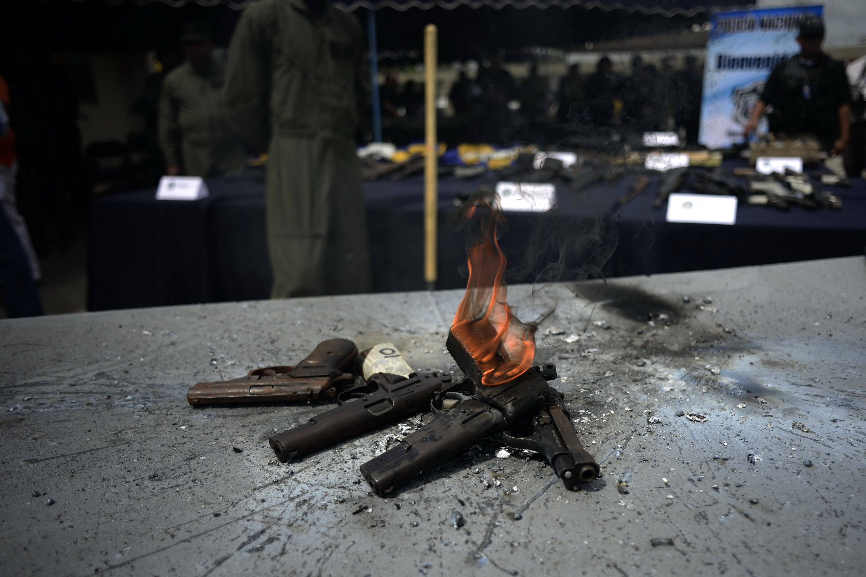 Aug. 6, 2014. Members of National Police of Panama take part in an official act of destruction of one hundred weapons in Panama City, capital of Panama.