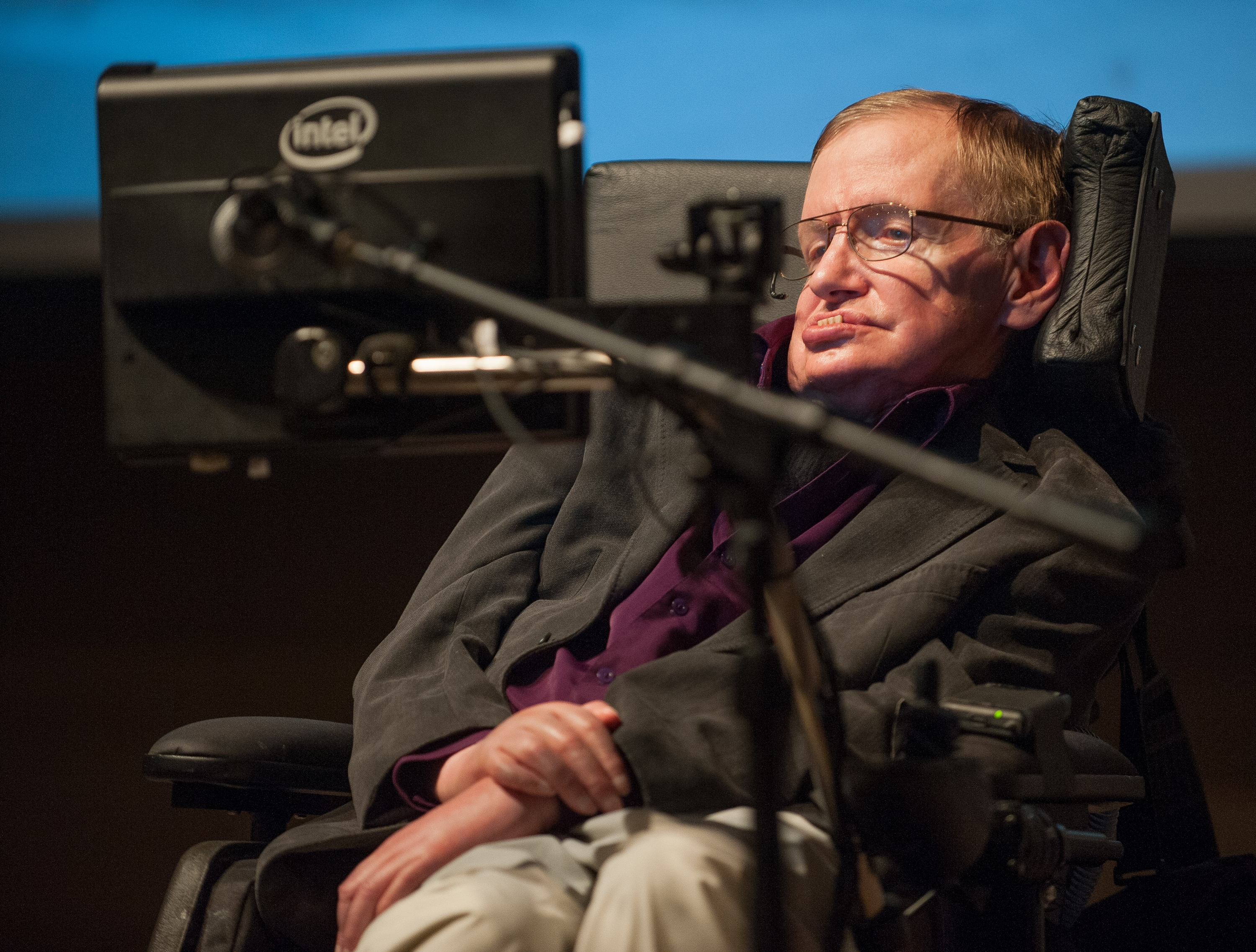 British cosmologist Stephen Hawking gives a talk titled   A Brief History of Mine,  to workers at Cedars-Sinai Medical Center in Los Angeles, on April 9, 2013.