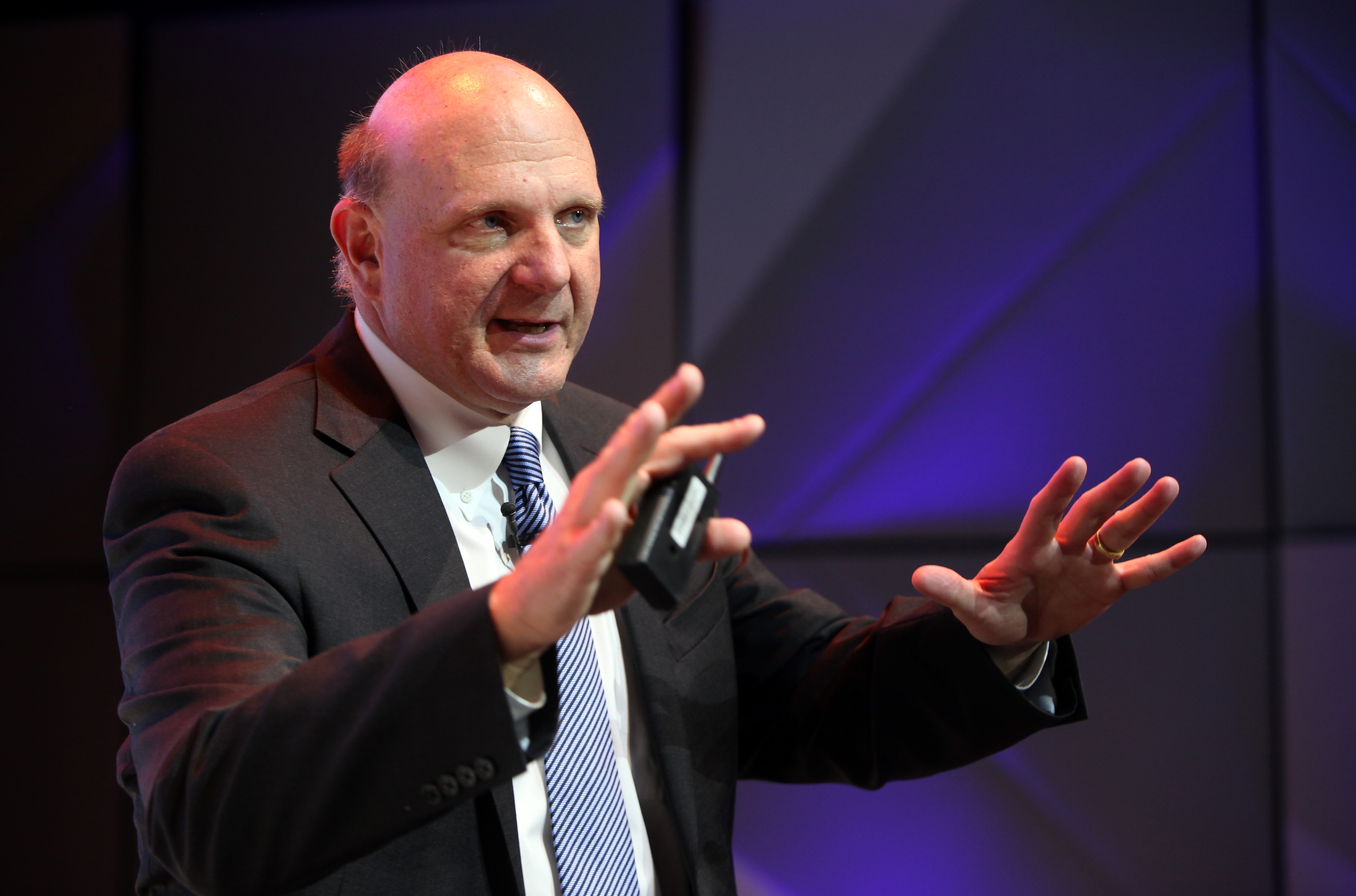 Microsoft Chief Executive Steve Ballmer speaks at the opening of the Microsoft Center Berlin on November 7, 2013 in Berlin, Germany.