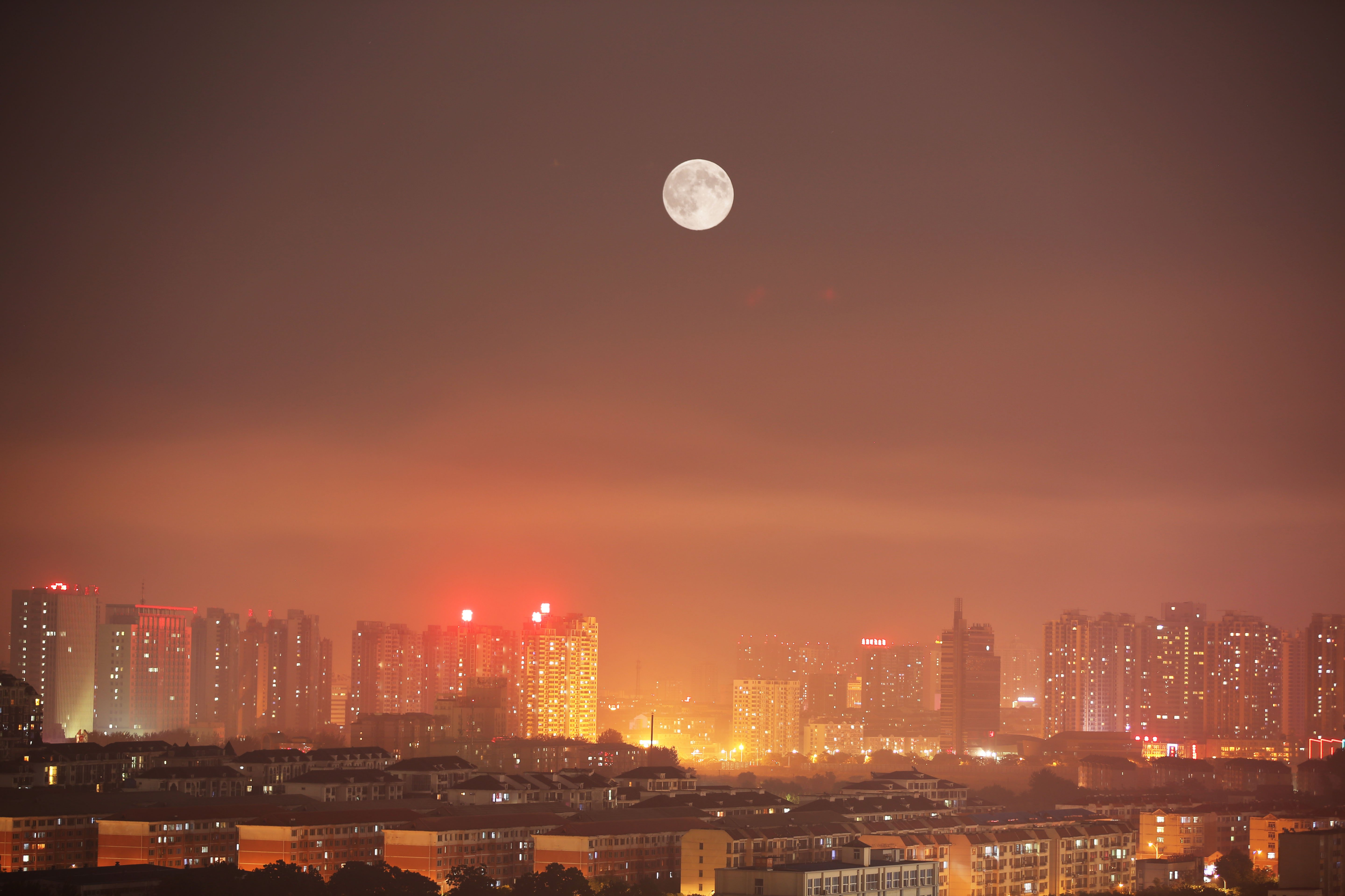 The Supermoon rises in Hebei, China on August 10, 2014.