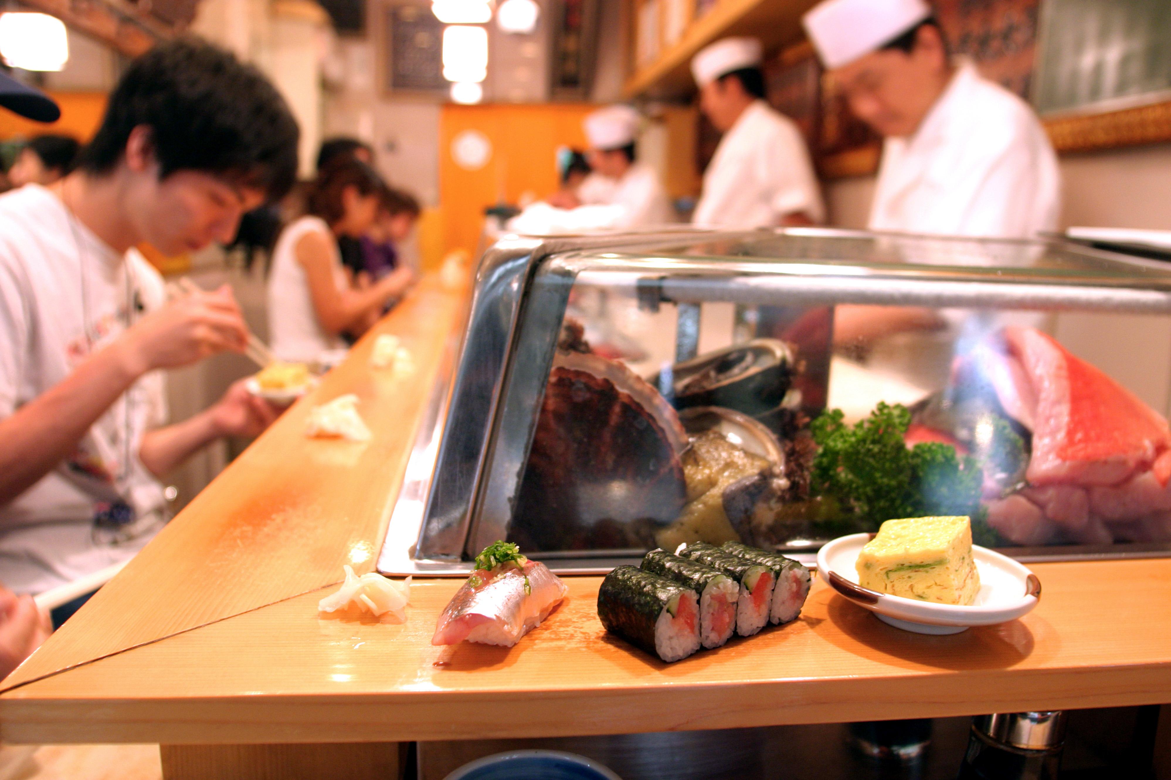 Detail of sushi at Sushi Dai, Tsukiji Fish Market.