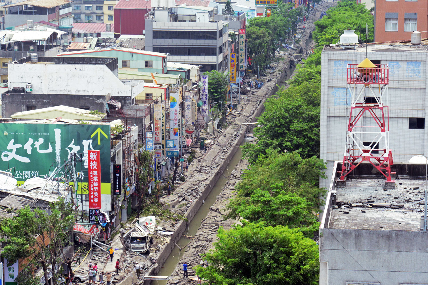 The damaged road after the gas explosions in southern kaohsiung on August 1, 2014.