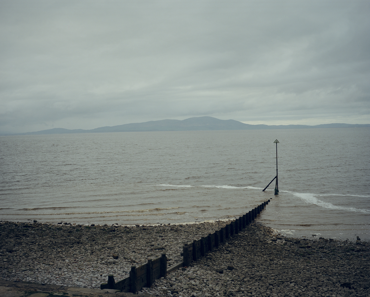 Looking at the hills of Dumfriesshire in Scotland from Cumbria, England, across the Solway Firth