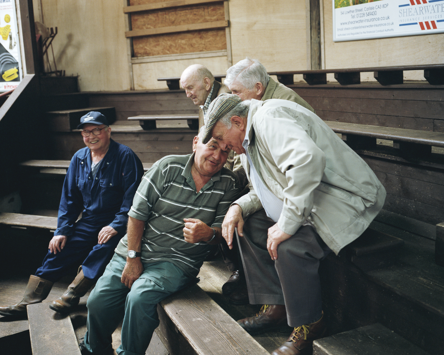 Retired English and Scottish farmers at Cumberland and Dumfriesshire farmers Mart, Longtown, Cumbria.