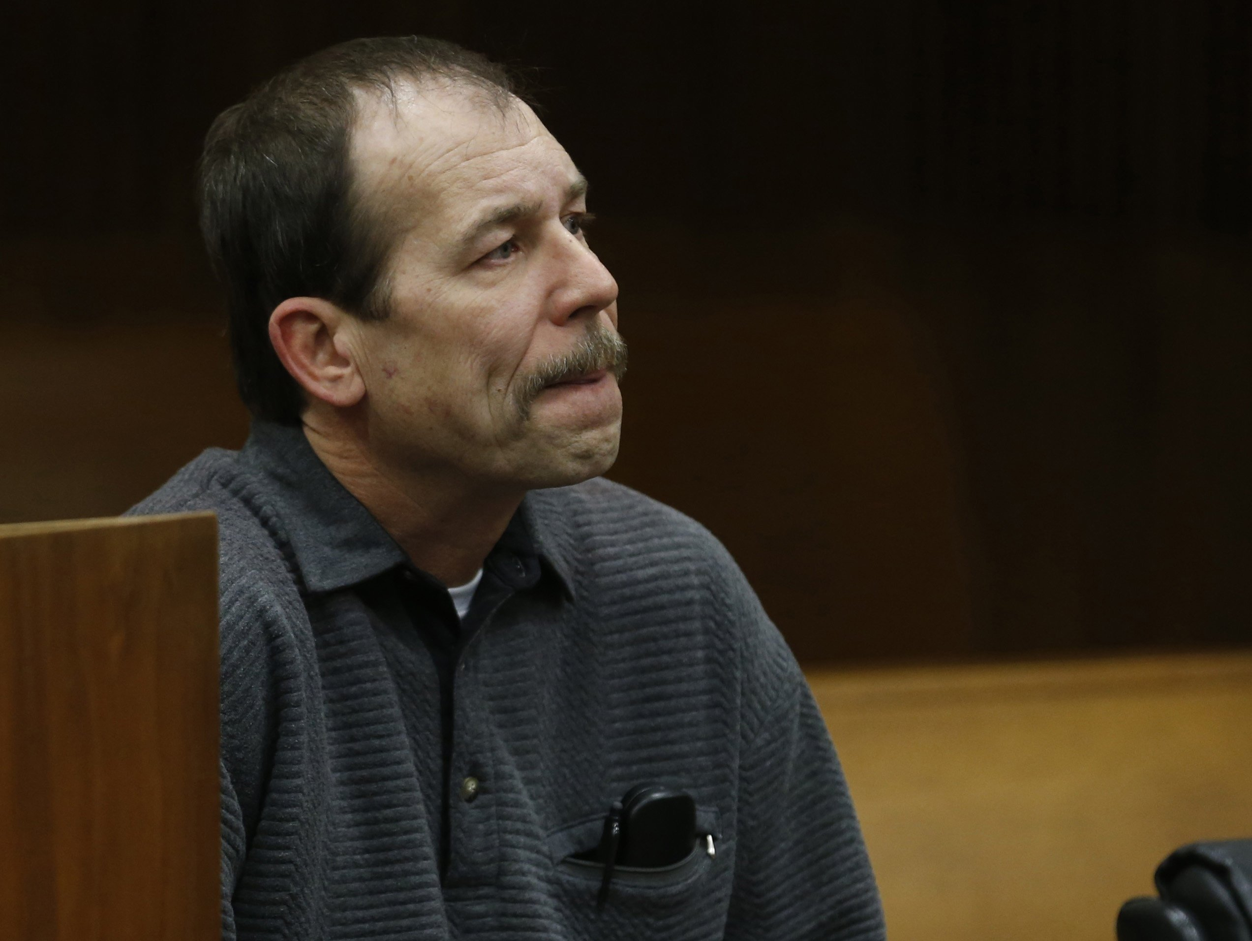 Theodore Wafer sits in the court room during his arraignment in Detroit, Michigan on January 15, 2014.