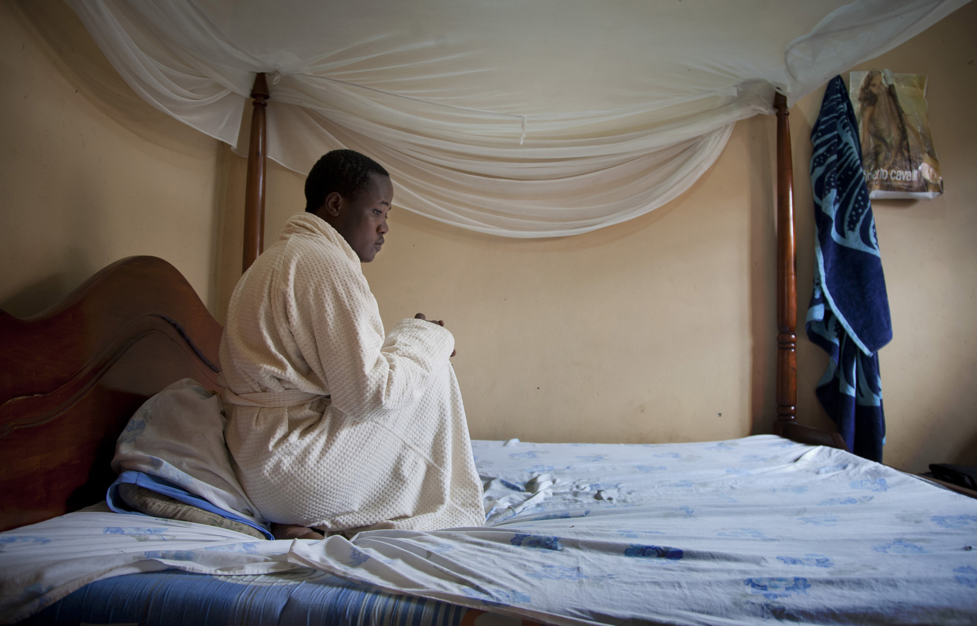 A Ugandan homosexual photographed in a safe-house at an undisclosed location in Uganda, in March 2014.