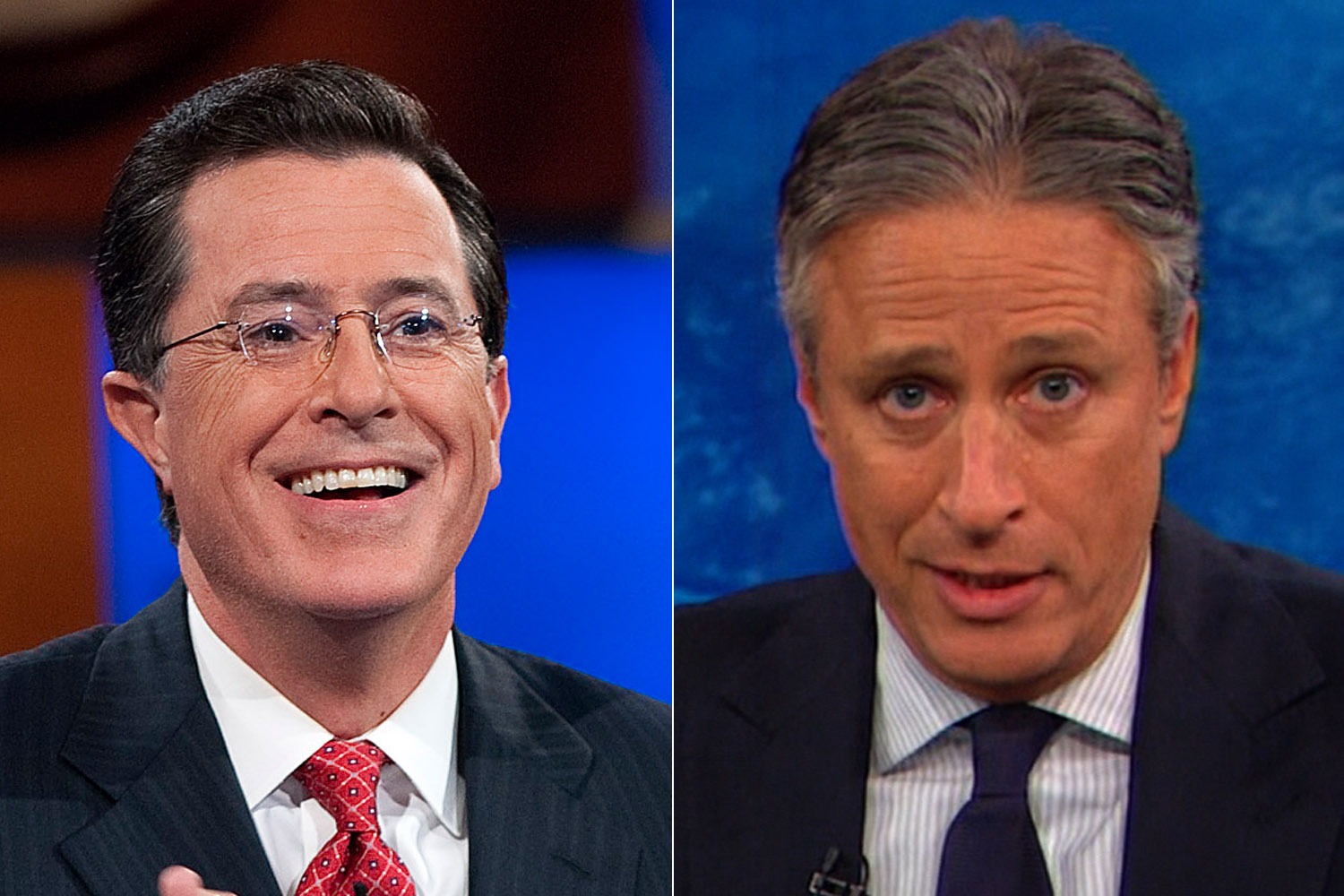 From left to right, Stephen Colbert and Jon Stewart.