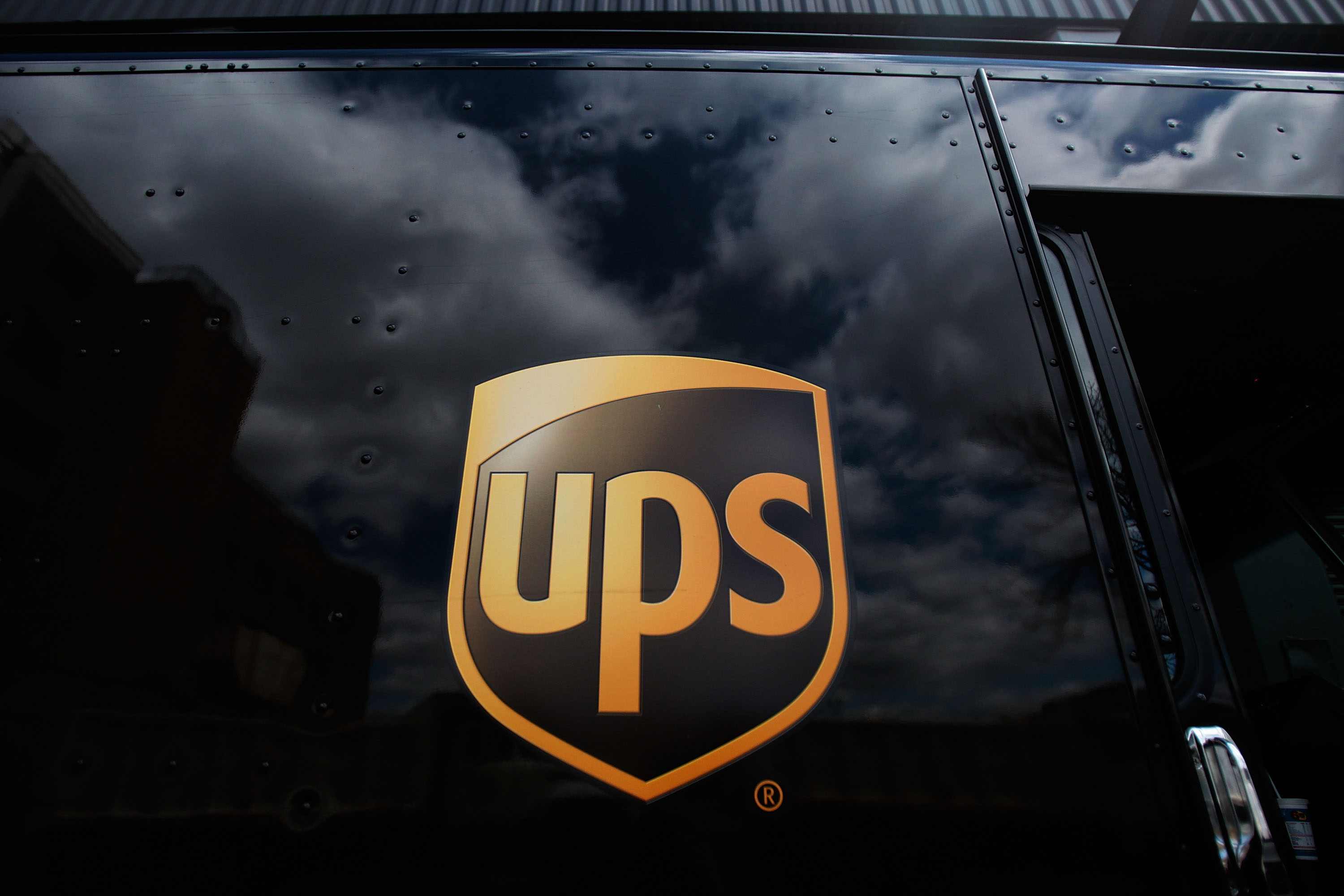 The United Parcel Service logo on the side of a delivery truck on April 23, 2009 in New York City.
