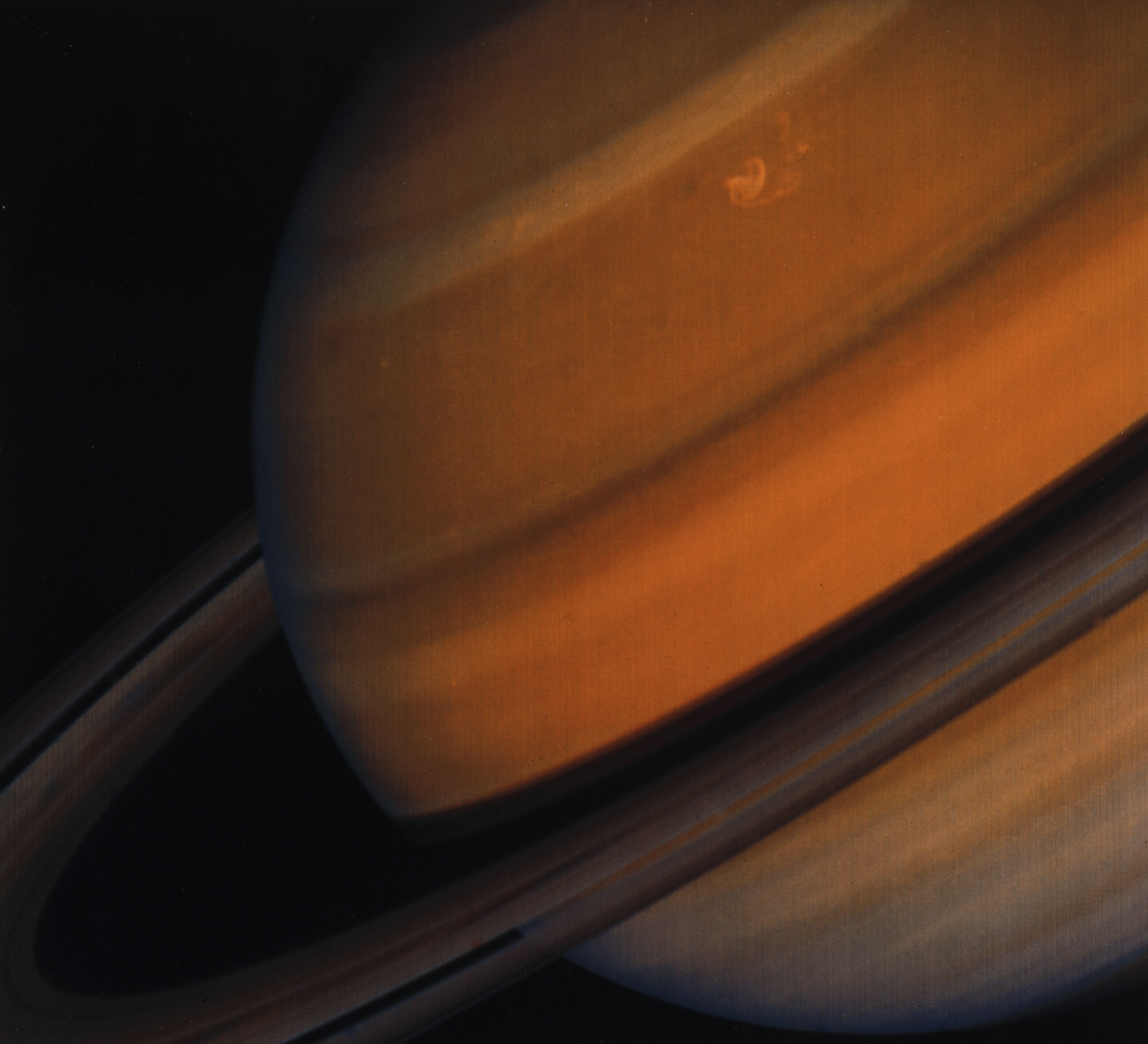 The clear ring structure of Saturn can be seen in this image taken form the Voyager 2 spacecraft on Jan. 1. 1981.