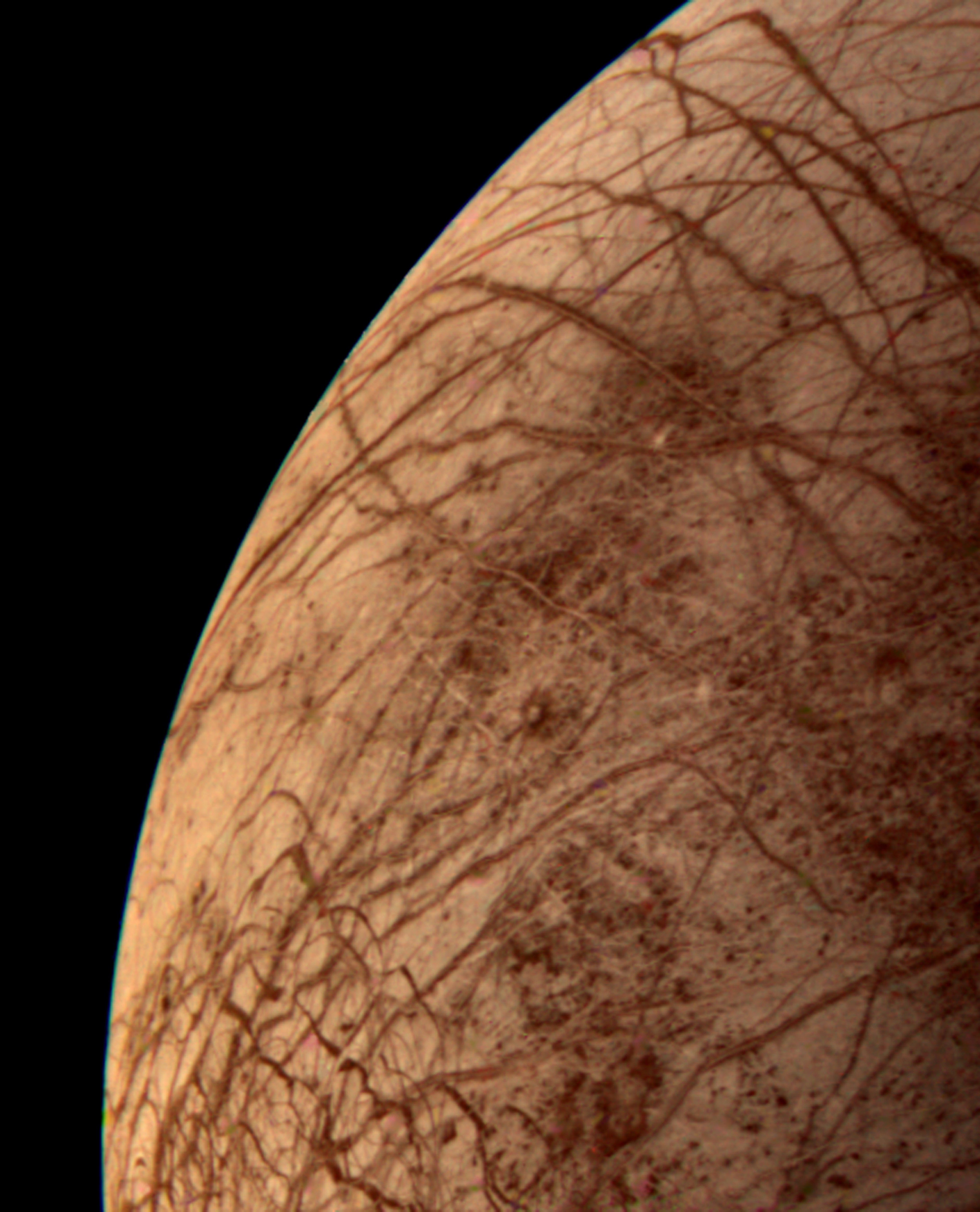 This color image of the Jovian moon Europa was taken from the Voyager 2 spacecraft on July 9, 1979.