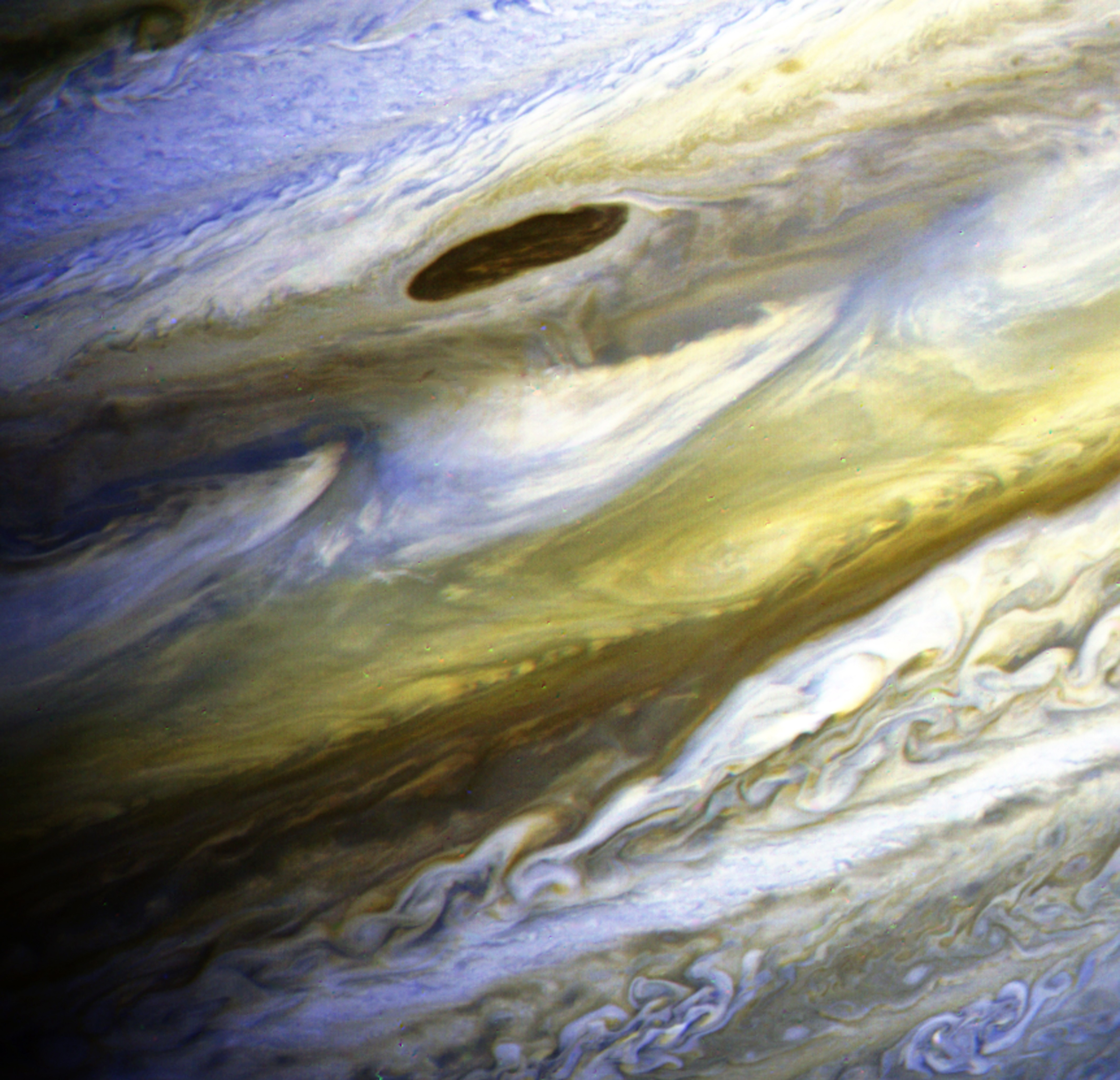 This color composite image has been processed to exaggerate color differences within the naturally colorful Jovian atmosphere on on June 28, 1979 from the Voyager 2 spacecraft.