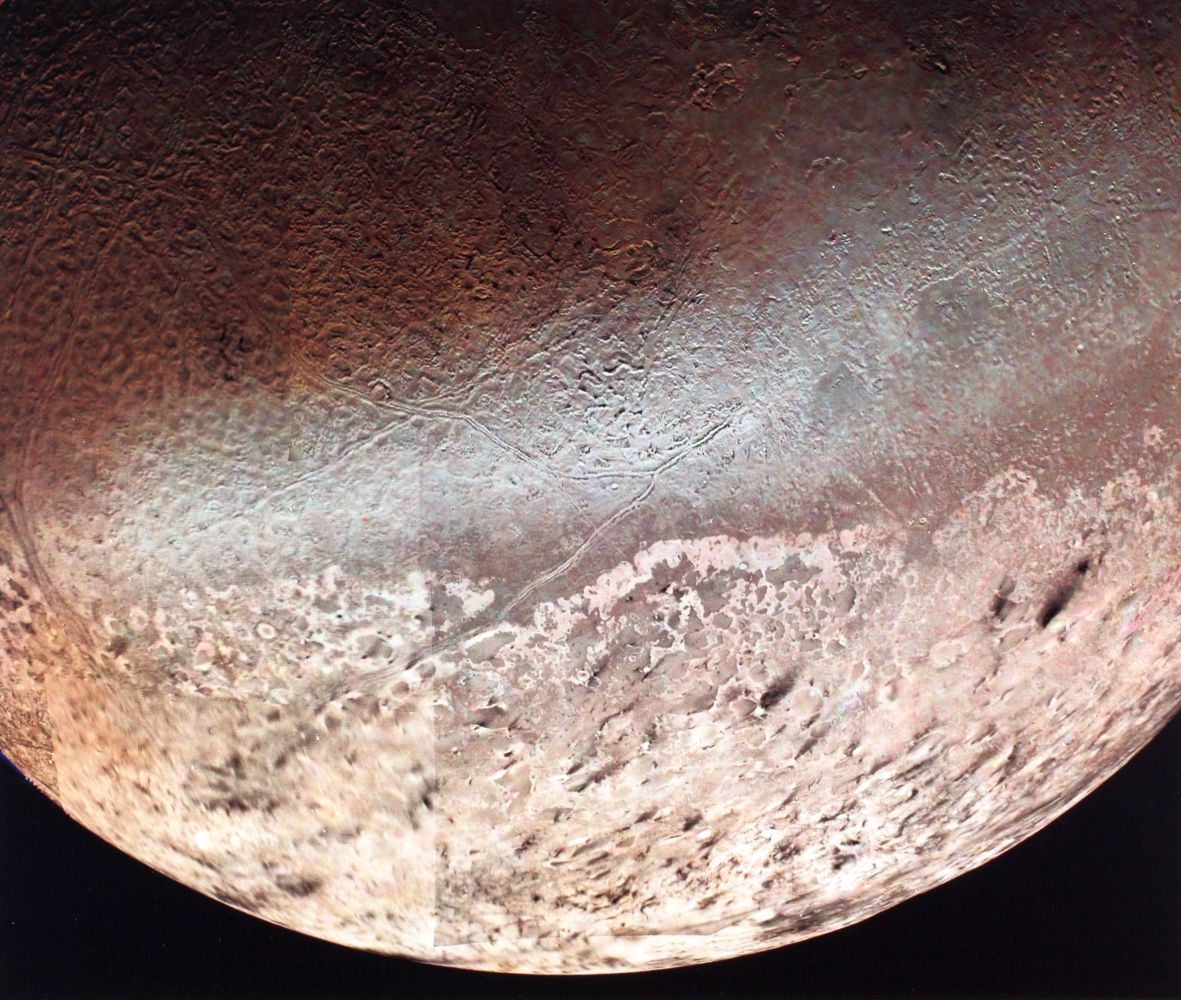 Neptune's largest satellite Triton taken from the Voyager 2 spacecraft.