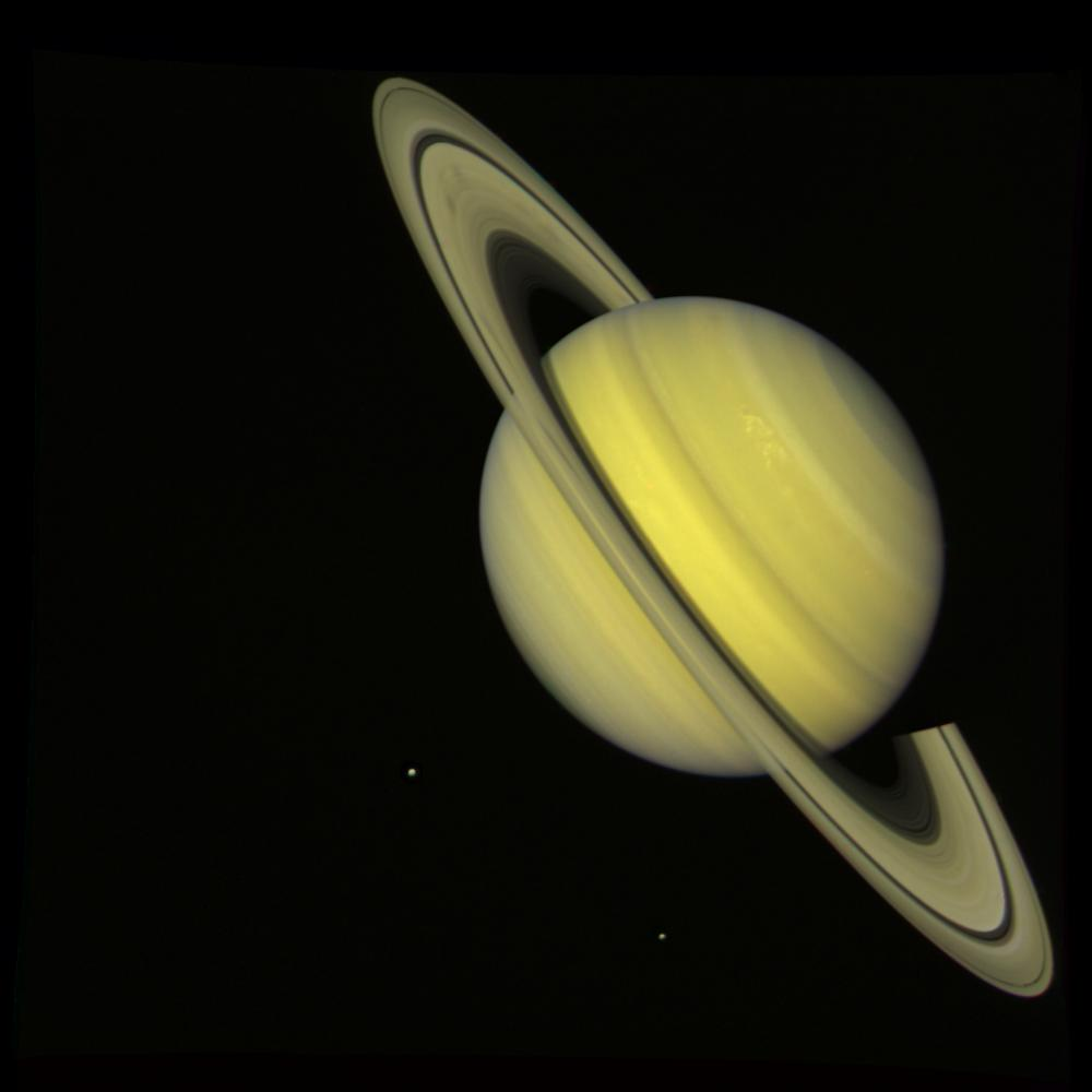 This 'true color' image of Saturn was taken from the Voyager 2 spacecraft 21 million miles away from the planet on July 21, 1981.