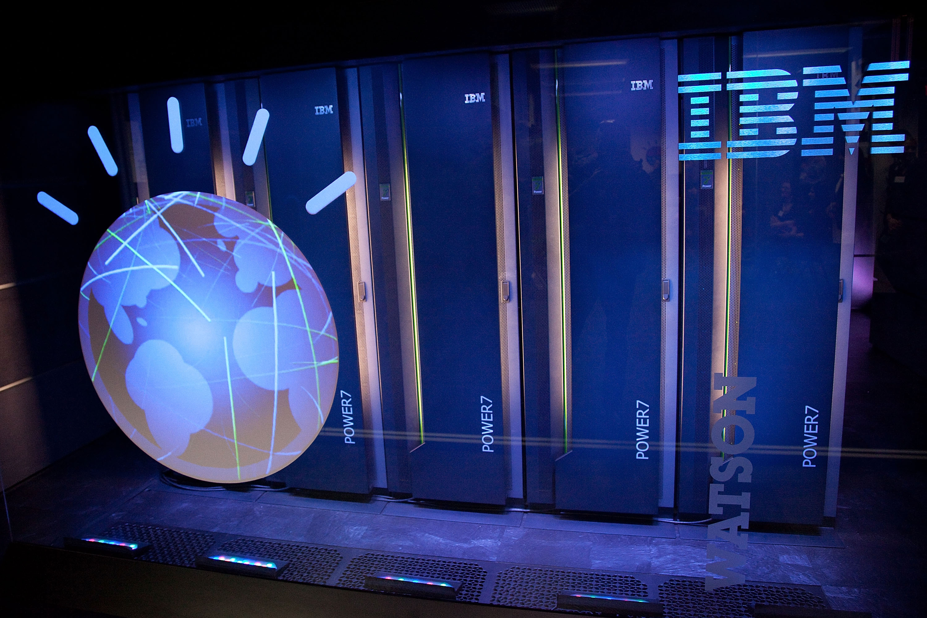 A general view of IBM's 'Watson' computing system at a press conference at the IBM T.J. Watson Research Center on January 13, 2011 in Yorktown Heights, New York.