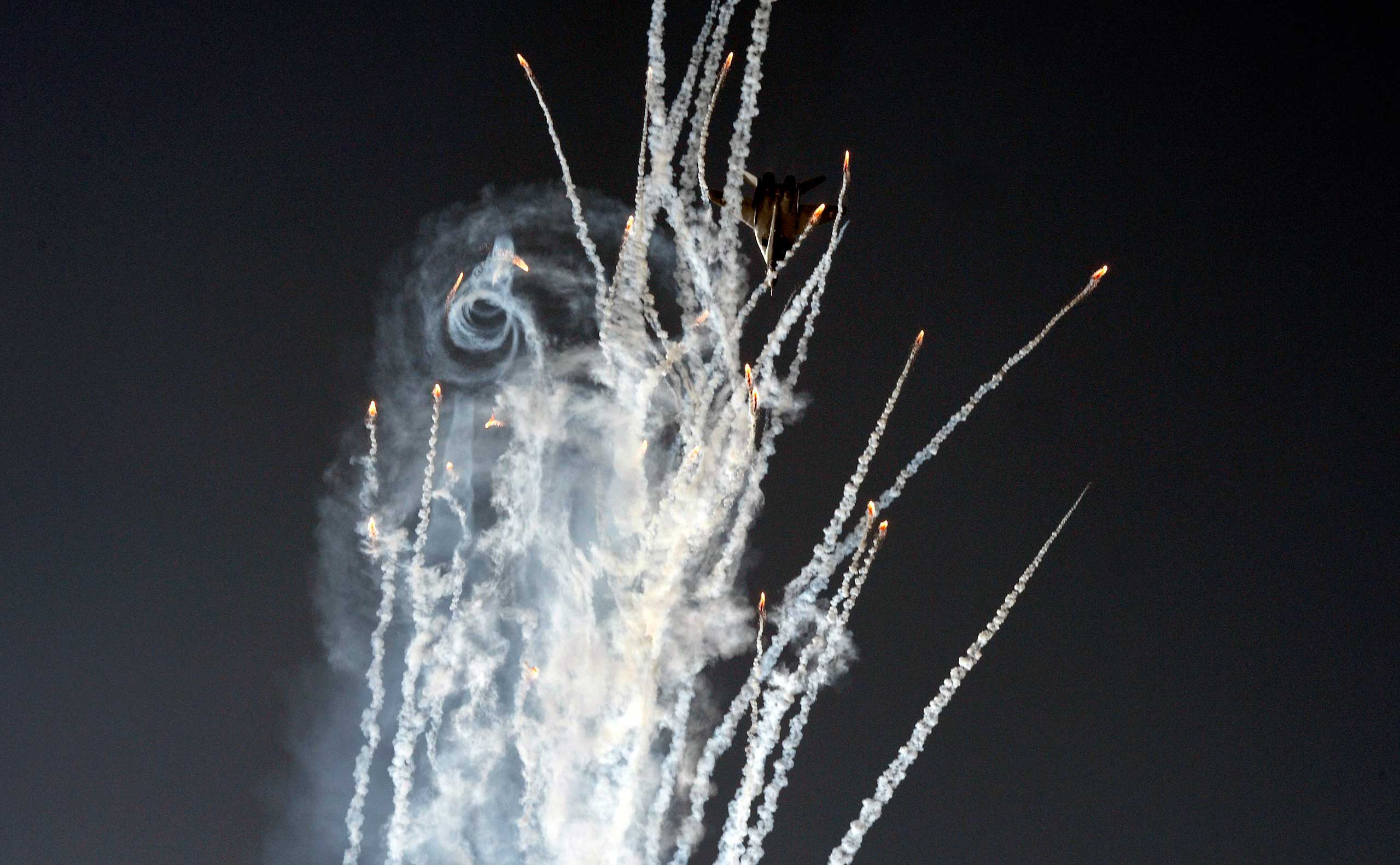 September 2014. A MIG 29 jet fighter aircraft carries out a demonstration during NATO Days in Ostrava, Czech Republic.
