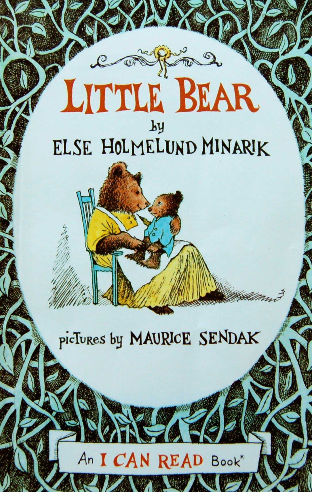 Little Bear (series), by Else Holmelund Minarek, illustrations by Maurice Sendak.                                                                                                                            Minarik wrote these stories,  which convey a young cub's yearning for his absent father, but it's Sendak's illustrations that catch the eye and allow for endless imaginings of life among woodland critters.                                                                                                                            Buy now: Little Bear (series)
