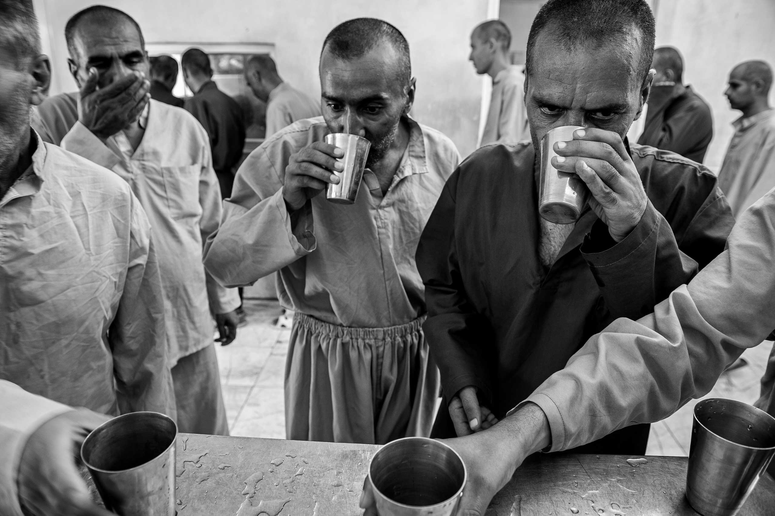 Patients taking medicine after eating lunch.