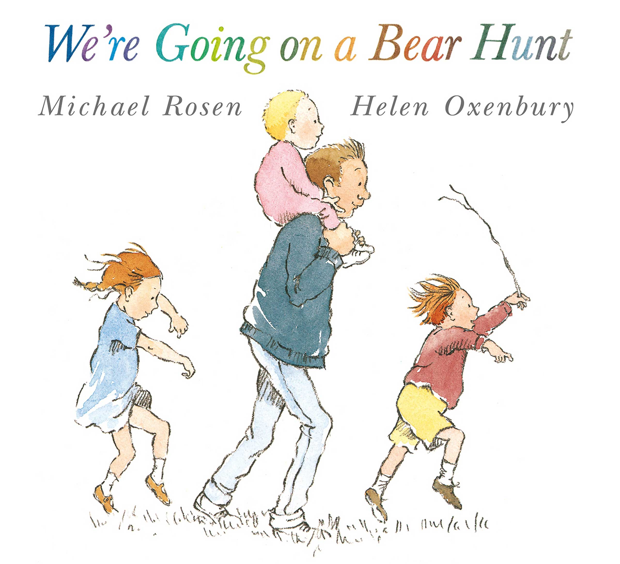 We're Going on a Bear Hunt, by Helen Oxenbury and Michael Rosen.                                                                                                                            A family goes off to hunt a bear and the bear does not take kindly to this.                                                                                                                            Buy now: We're Going on a Bear Hunt
