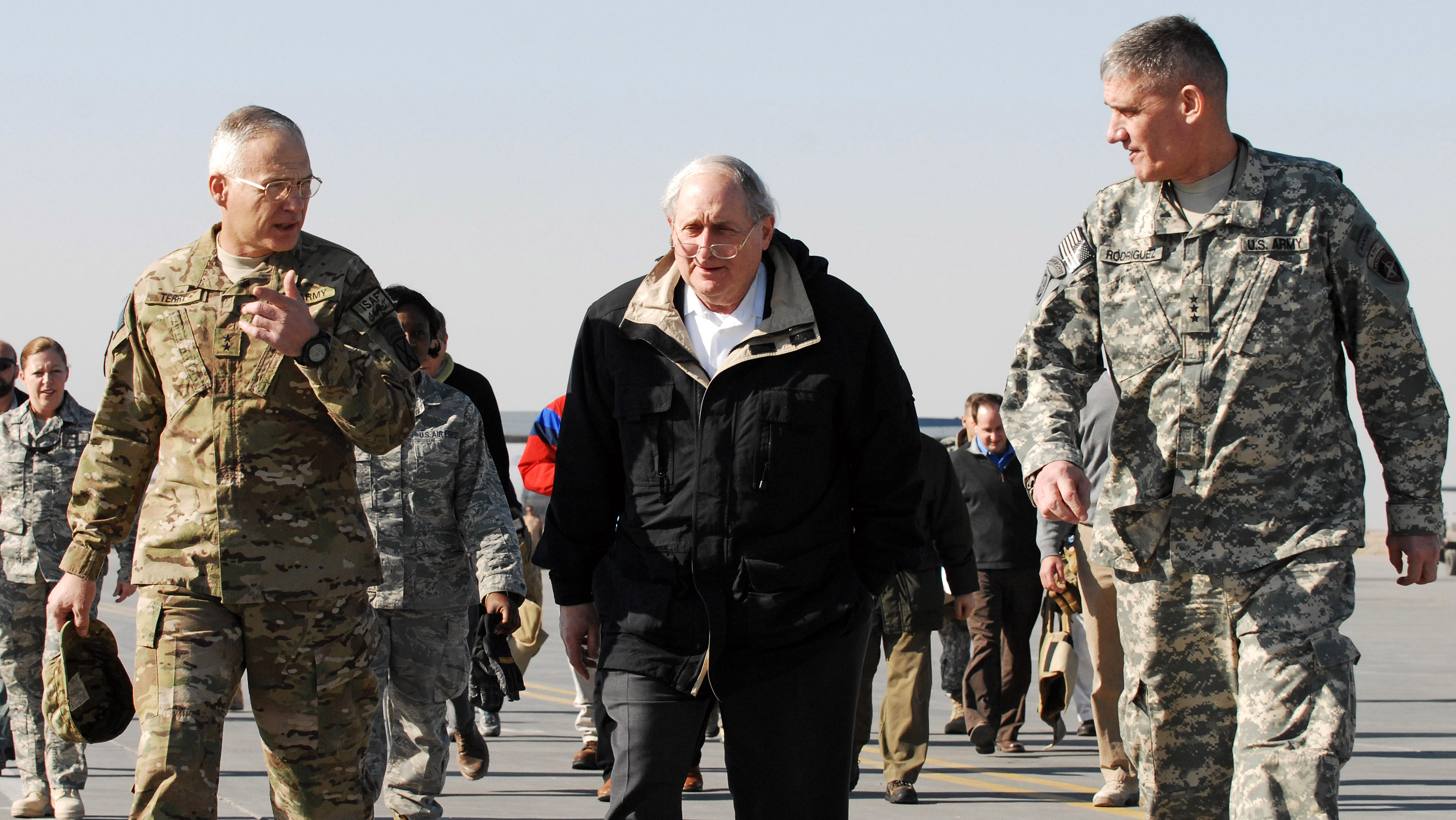 Carl Levin, center, on a 2011 visit to Afghanistan.