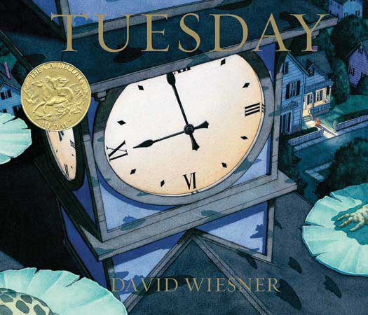 "Tuesday, by David Wiesner.                                                                                                                            Who needs text? Not this illustrator, who also ""wrote"" the very few words that make up his tale. His stunning, propulsive watercolors show flying frogs on a surreal adventure. Reading may be fundamental, but here the pictures do almost all the talking.                                                                                                                            Buy now: Tuesday"