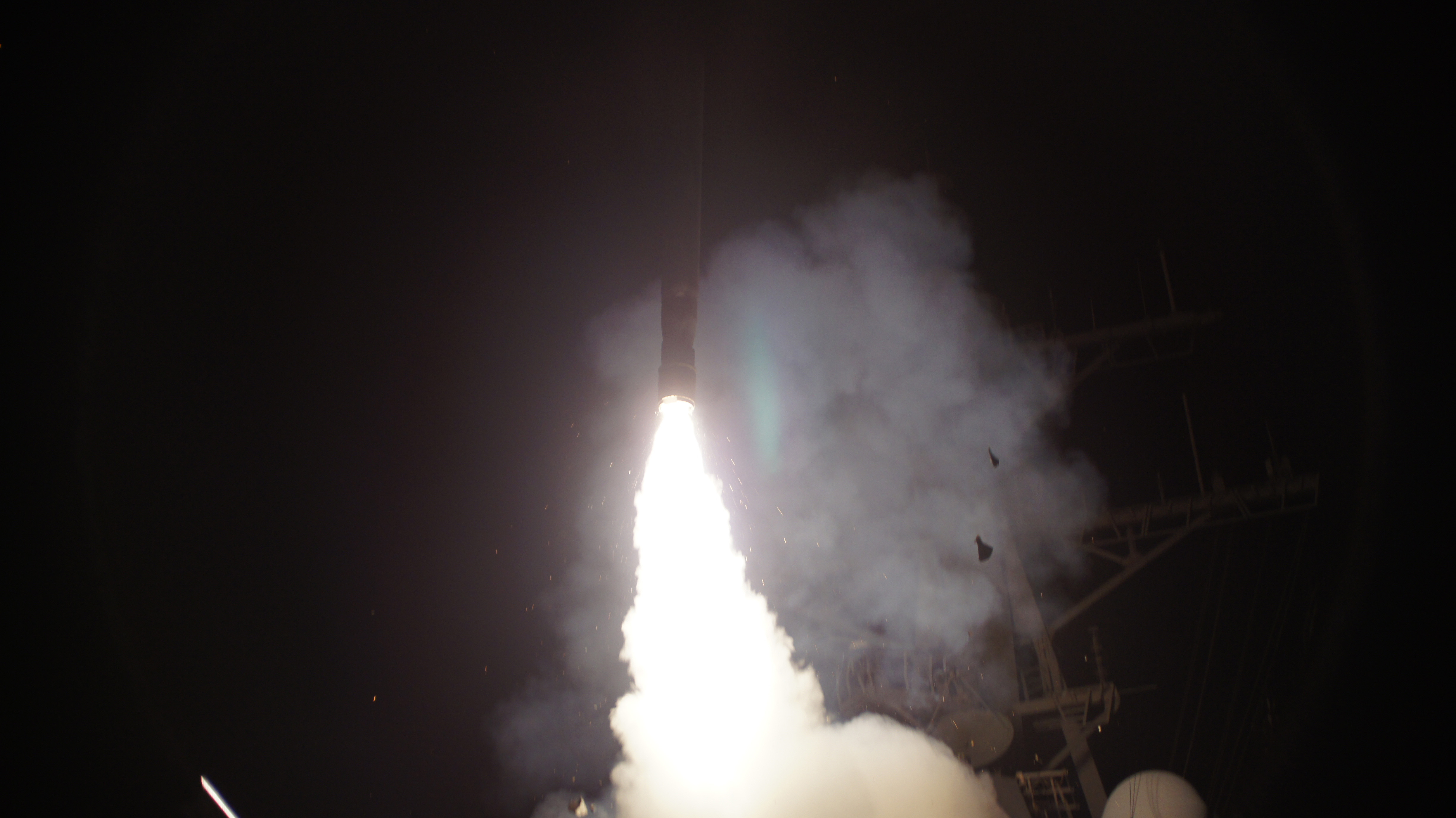 The U.S. attacked targets inside Syria early Tuesday with Tomahawk missiles like this one, shown being launched against Libya from a U.S. Navy warship in the Mediterranean Sea in 2011.