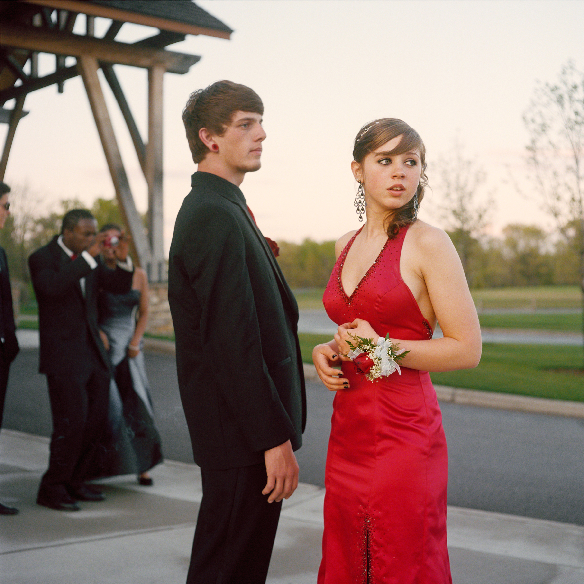 "<strong>In 2014, the average cost for a prom dress was $195, according to <a href=""http://www.statisticbrain.com/prom-night-statistics/"" title=""Statistic Brain"" target=""_blank"">Seventeen Magazine</a>. On top of this, a teen girl's prom expenses include shoes, handbag, hair, makeup, manicure and jewelry.  However, teen boys are often expected to bear the costs for many prom activities, and the average costs of a limousine for four hours can be $450 and prom tickets can be $75.  This excludes his tuxedo, accessories, their dinner and transportation. For help making a budget, get the <a href=""http://www.practicalmoneyskills.com/resources/prom2014.php"" title=""Visa Plan'it Prom app"" target=""_blank"">Visa Plan'it Prom app</a>.</strong>                                                                      Title: ""Nick and Angel,"" from the series <em><a href=""http://amyandersonart.com/crossroads.htm"" title=""At Risk, With Promise"" target=""_blank"">At Risk, With Promise.</a></em>                                                                      <a href=""http://amyandersonart.com/"" title=""Amy Anderson"" target=""_blank"">Amy Anderson</a> has been documenting students at Crossroads Alternative High School for the last four years. Coming from diverse backgrounds, they have been unable to be successful in a traditional school setting for various reasons. Some are brilliant, kind, articulate teenagers; some are abused, addicted, angry youth…many are both. Though they carry the wounds and fears of their past, her portraits honor the strength that develops as they begin a new journey and make changes and choices that will shape their lives."