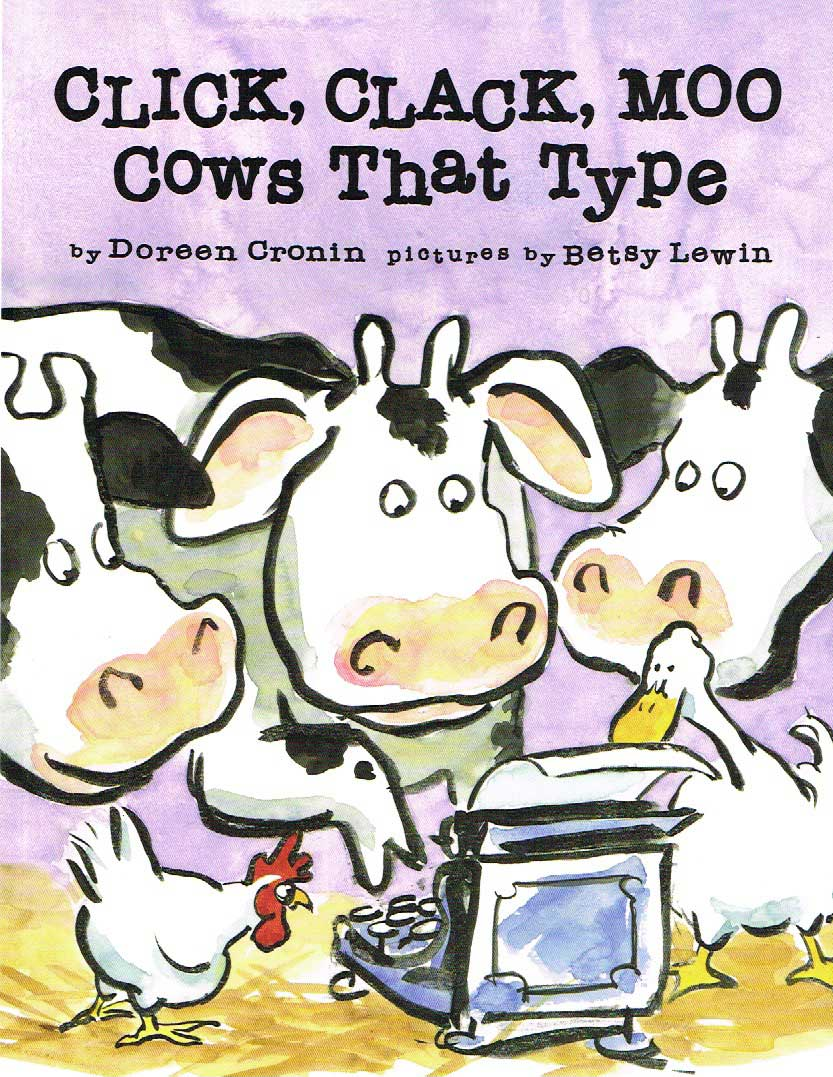 Click, Clack, Moo, by Doreen Cronin, illustrations by Betsy Lewin.                                                                                                                            This story about farm animals sticking up for their rights wryly reveals the power of peaceful protest.                                                                                                                            Buy now: Click, Clack, Moo